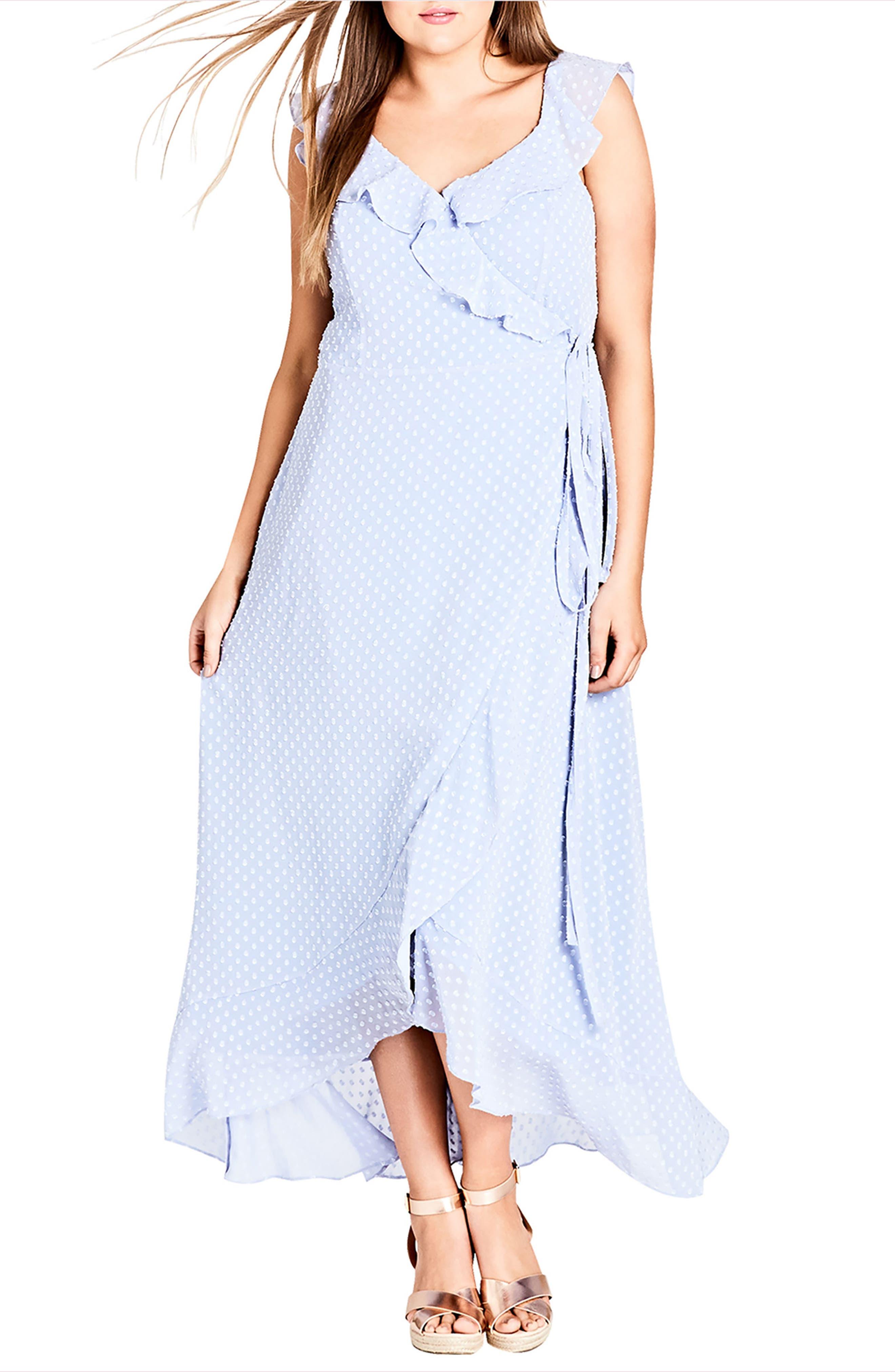 City Chic Dot Fil Coupé Ruffle Maxi Dress (Plus Size)