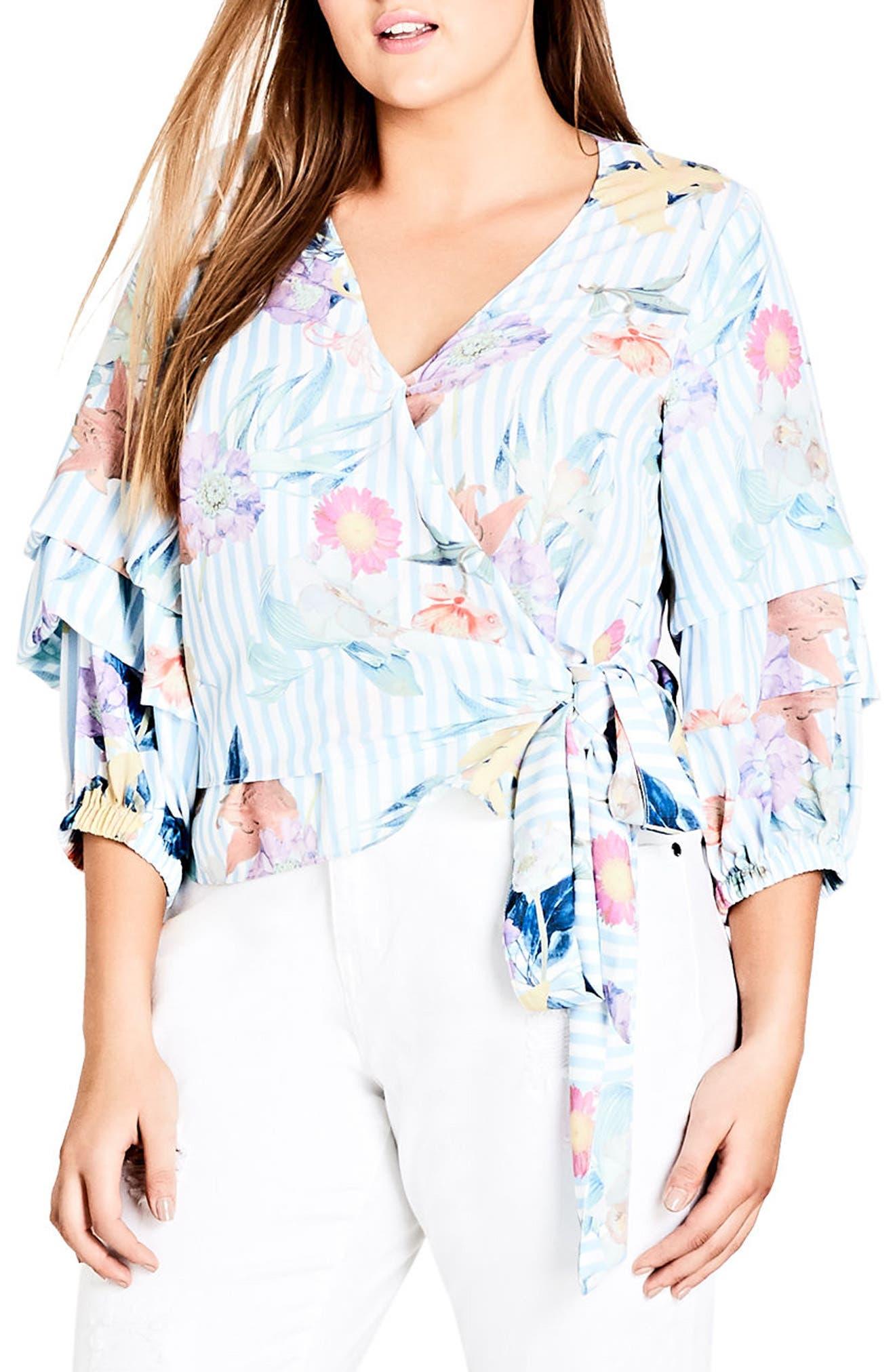Pastel Faux Wrap Top,                             Main thumbnail 1, color,                             Summer Stripe