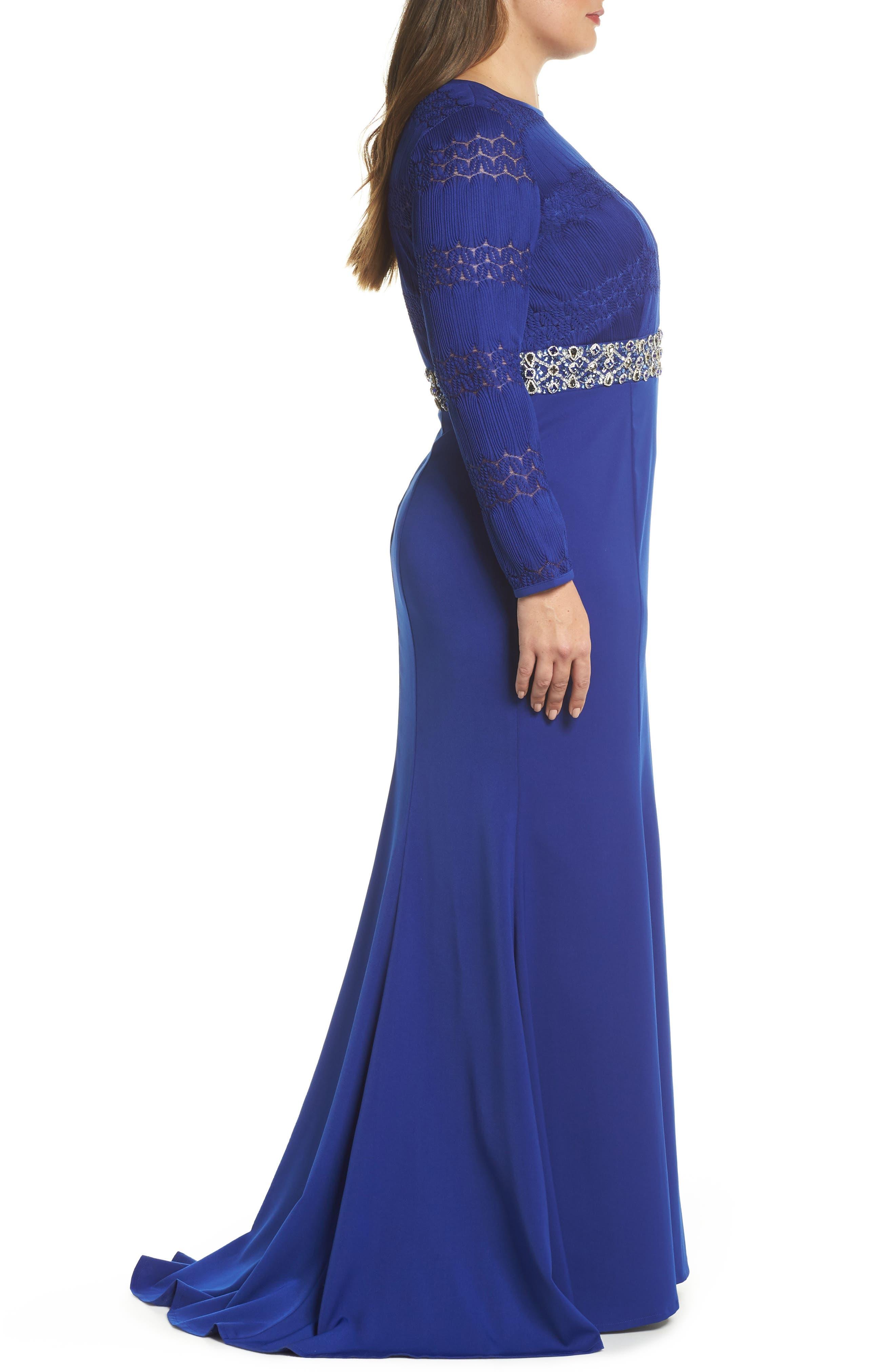 Embellished Gown,                             Alternate thumbnail 3, color,                             Royal