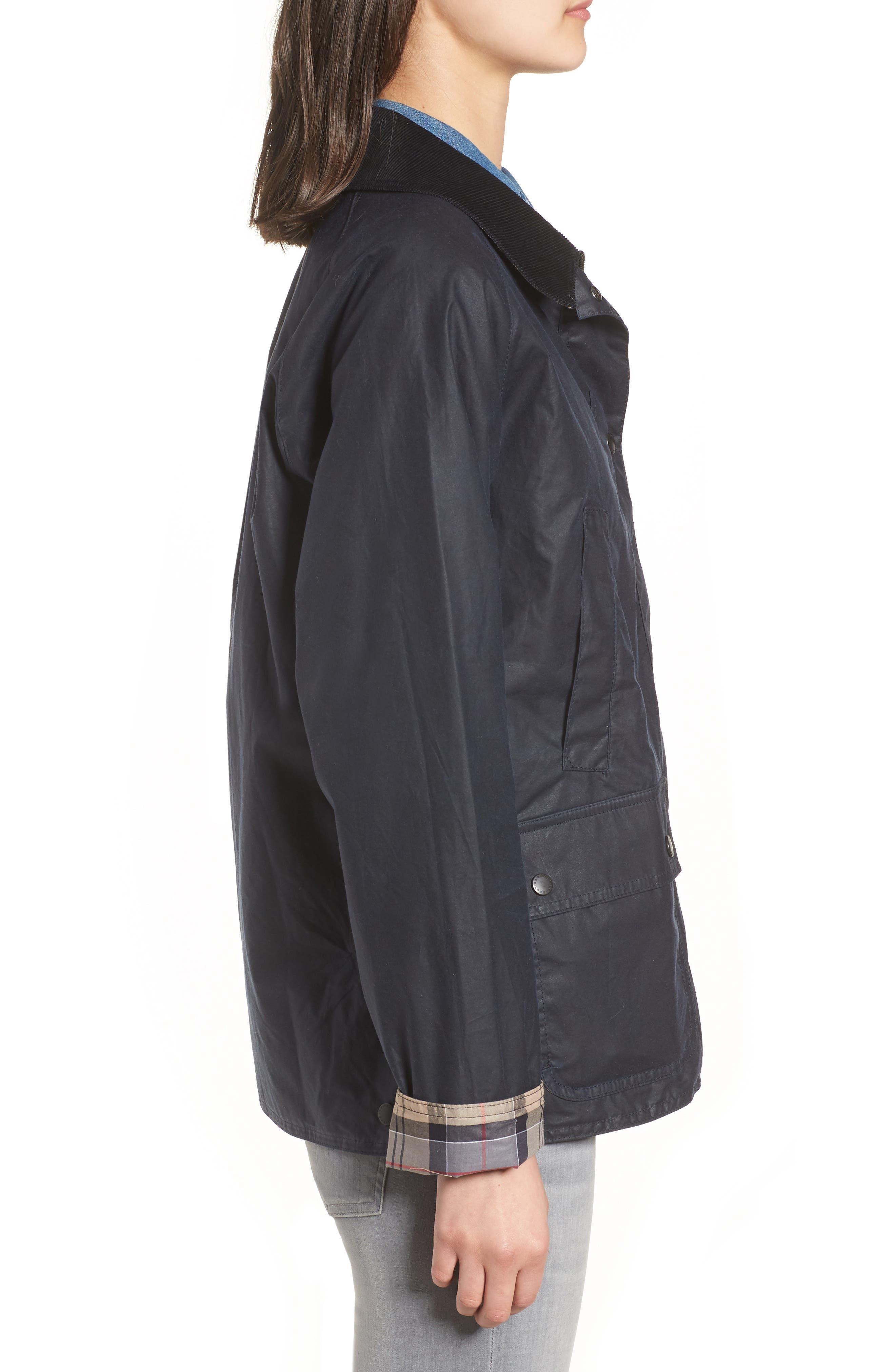 Acorn Water Resistant Waxed Cotton Jacket,                             Alternate thumbnail 4, color,                             Royal Navy