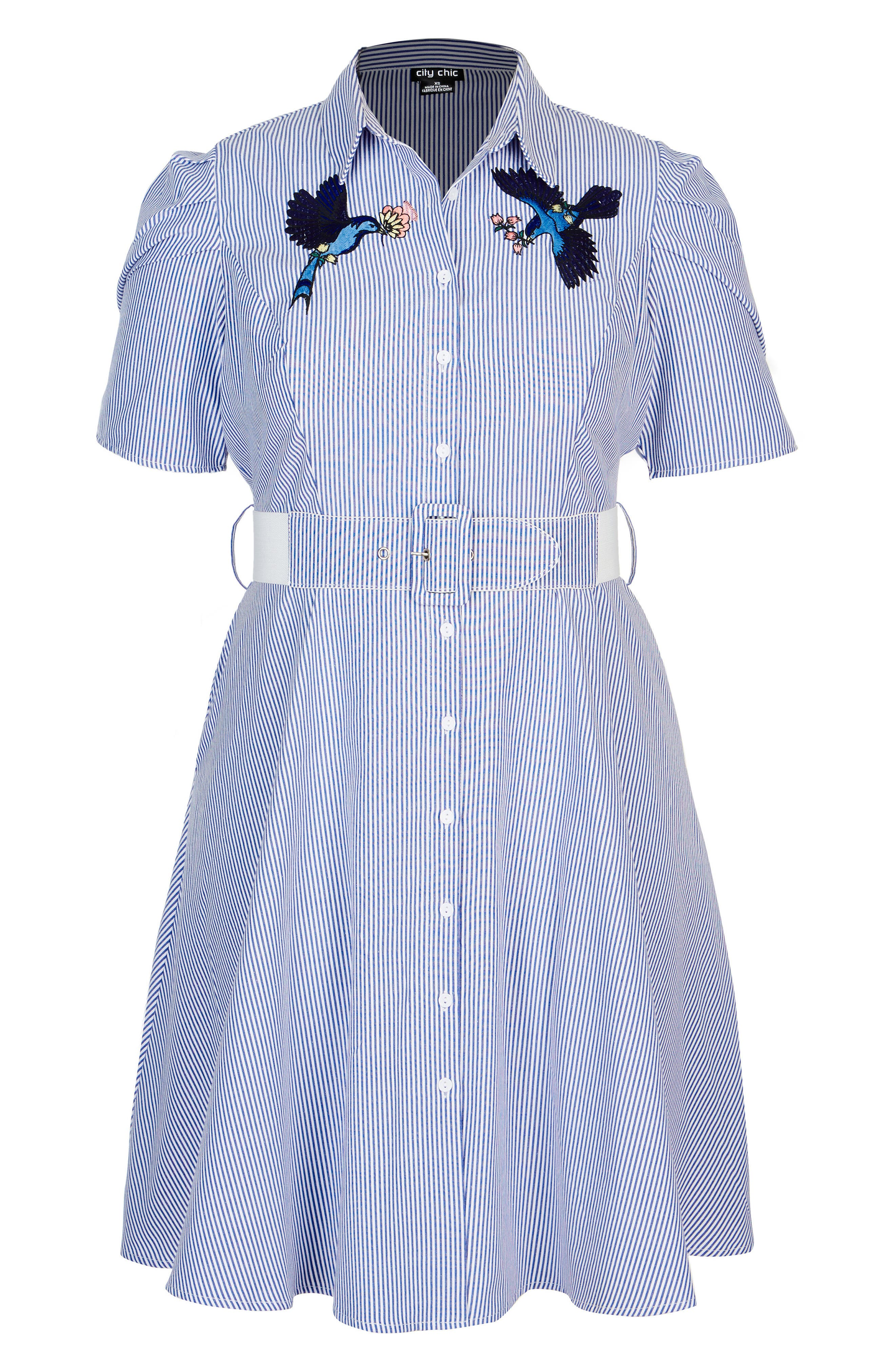 Stripe Essence Shirtdress,                             Alternate thumbnail 3, color,                             Lapis Stripe