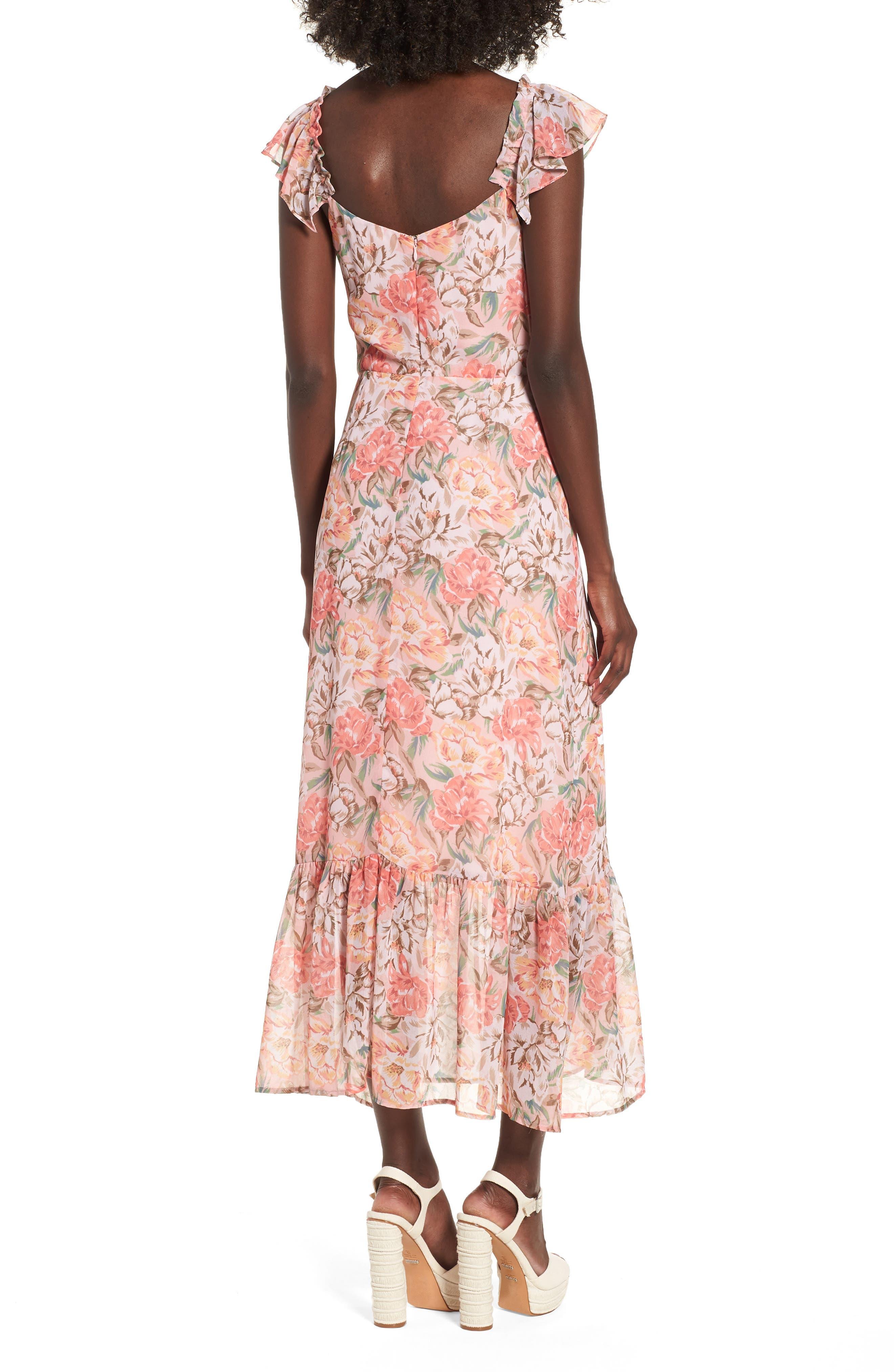 Valerie Blouson Midi Dress,                             Alternate thumbnail 3, color,                             Coral Floral