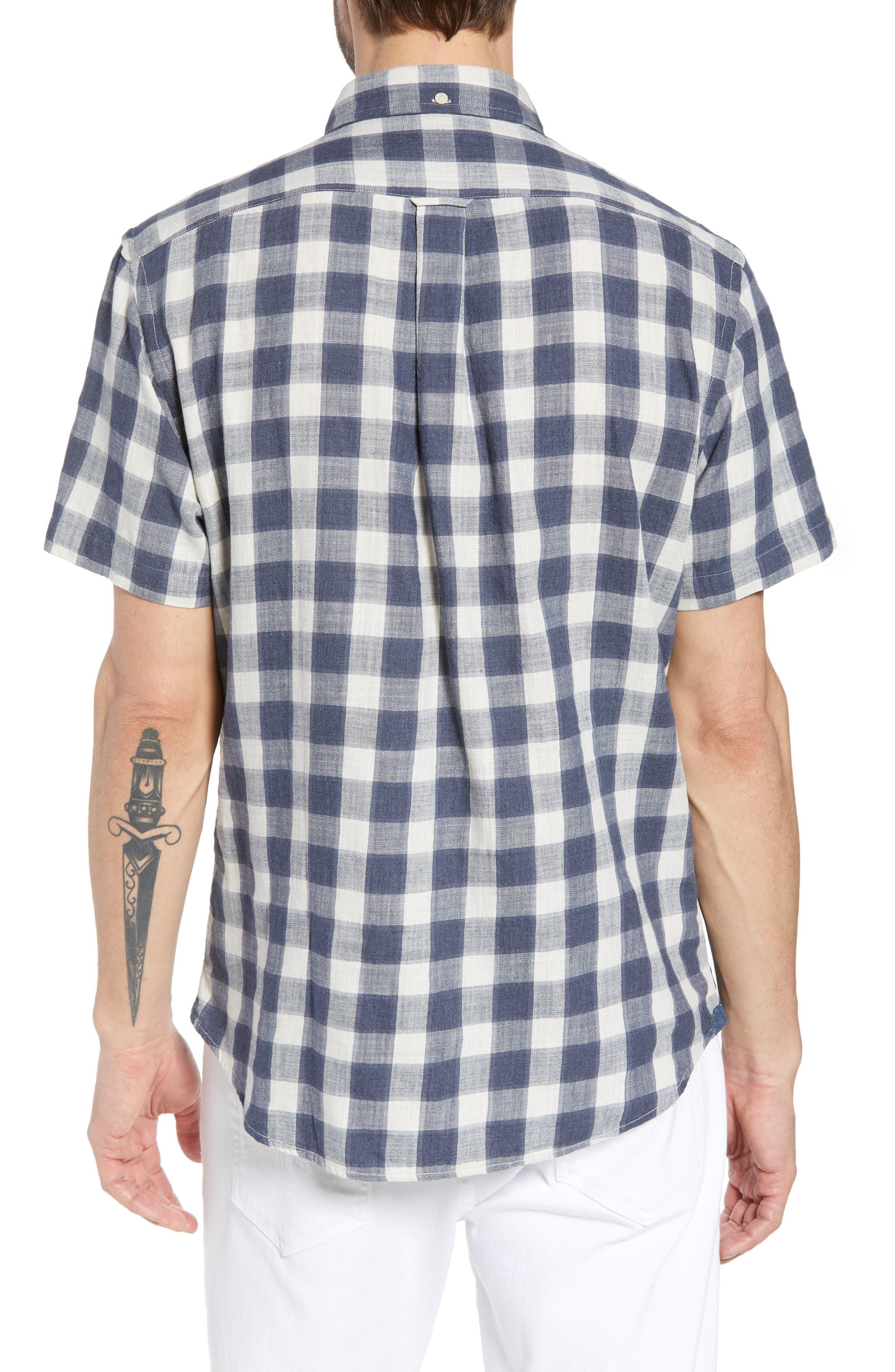 Gingham Twill Sport Shirt,                             Alternate thumbnail 3, color,                             Grey Cream