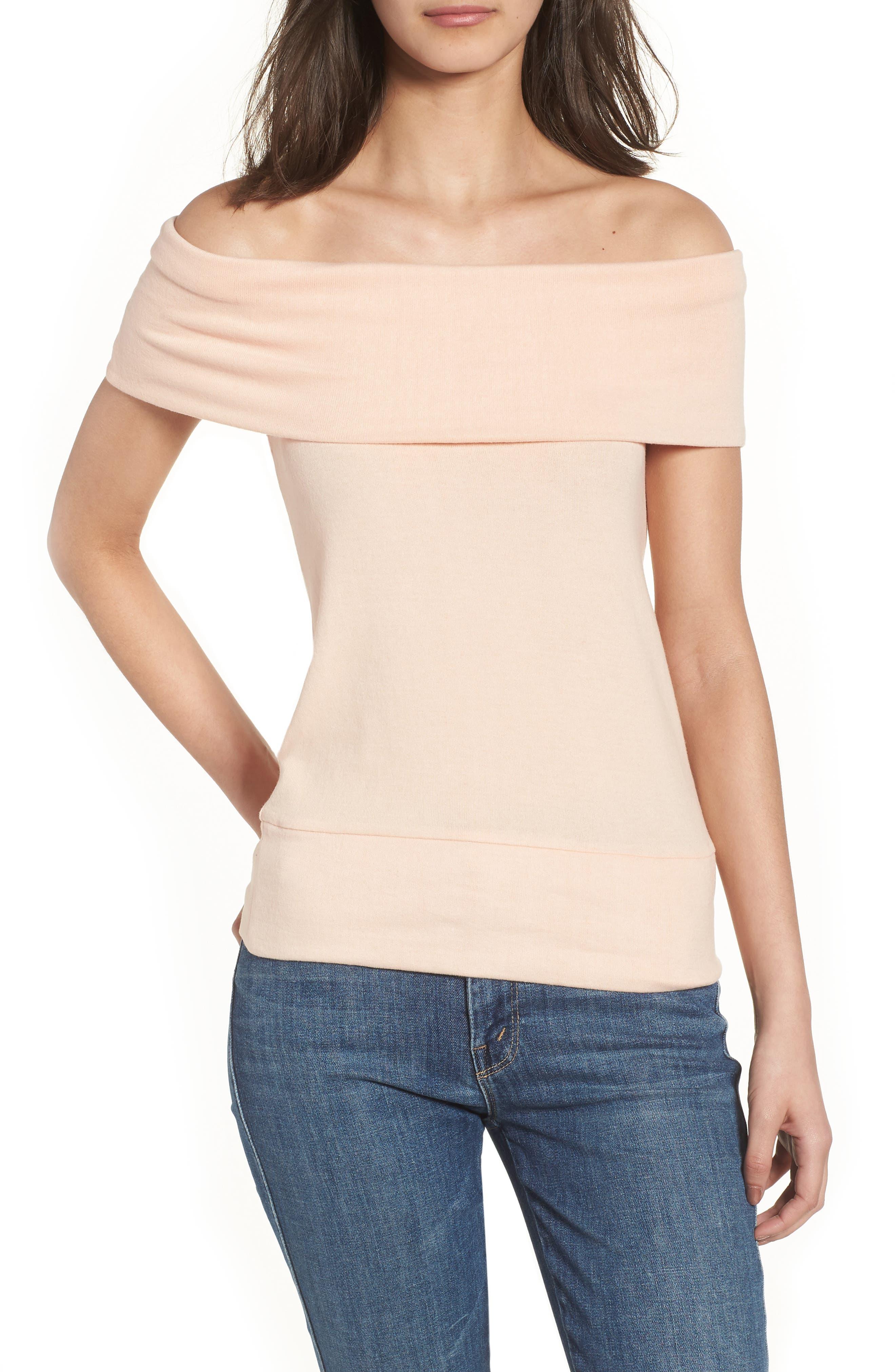 Cathie Off the Shoulder Top,                         Main,                         color, Peach Parfait