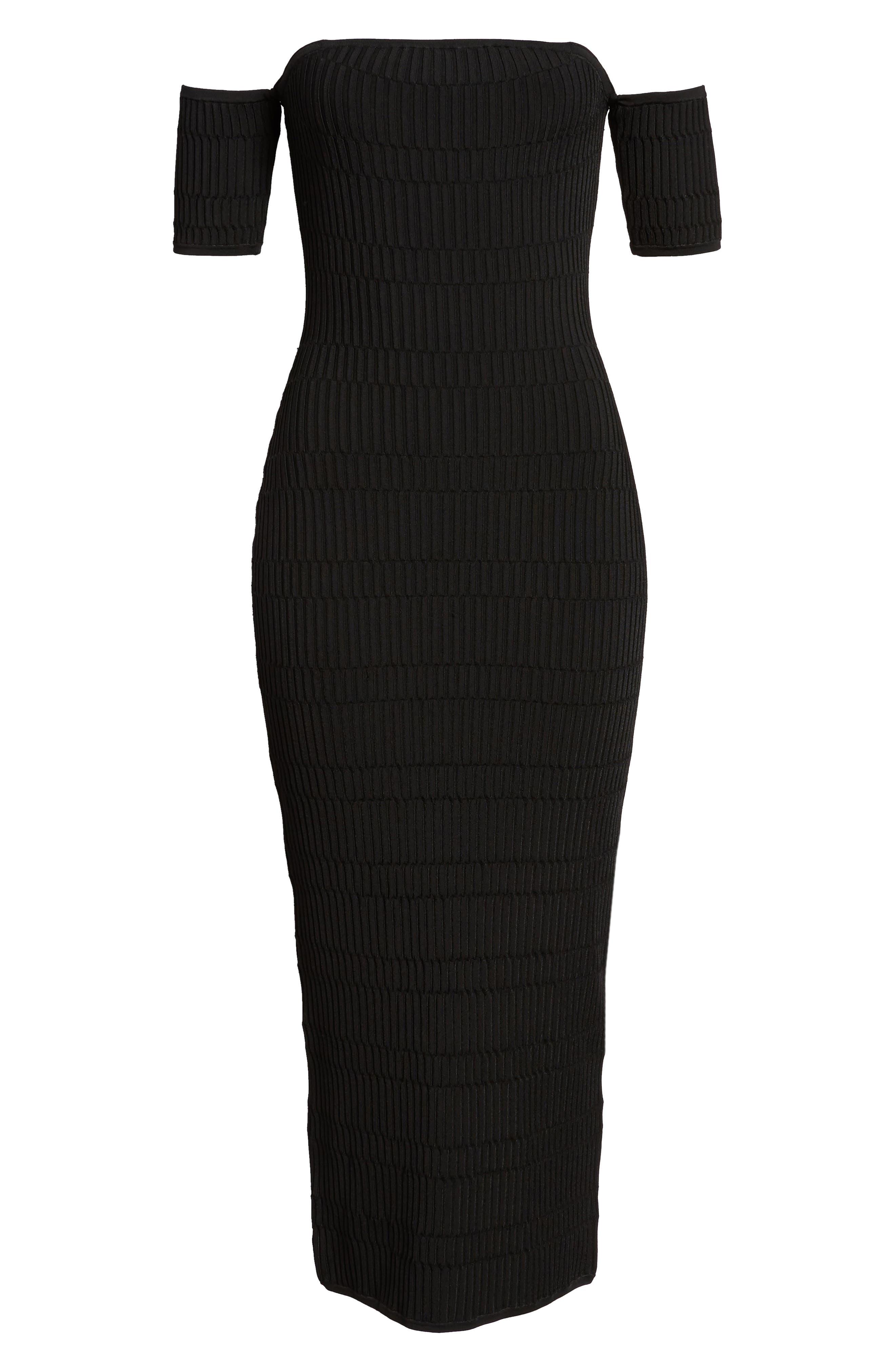 Tube Sweater Dress,                             Alternate thumbnail 6, color,                             Black