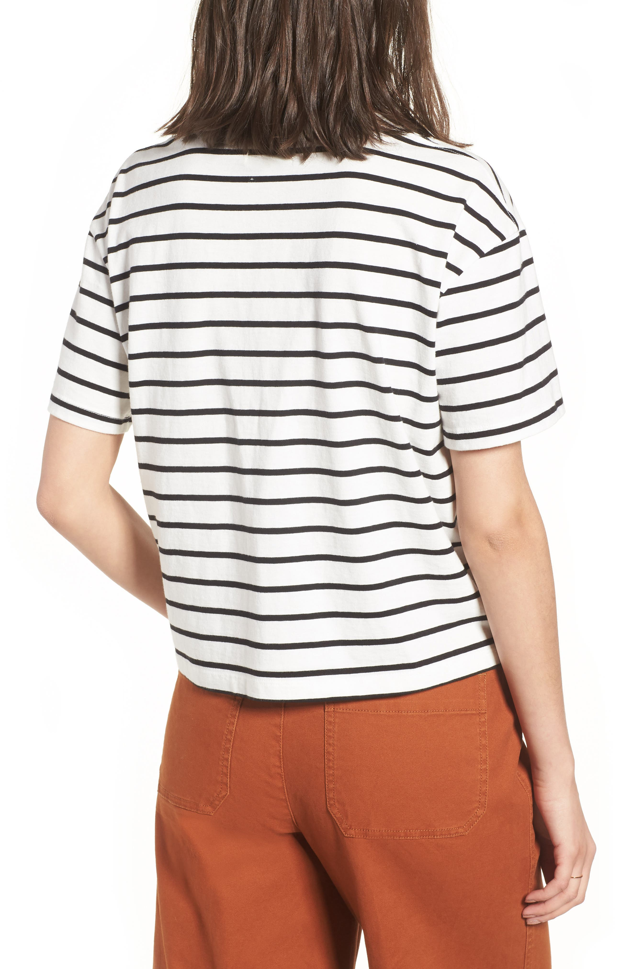 Stripe Easy Crop Tee,                             Alternate thumbnail 2, color,                             Bright Ivory