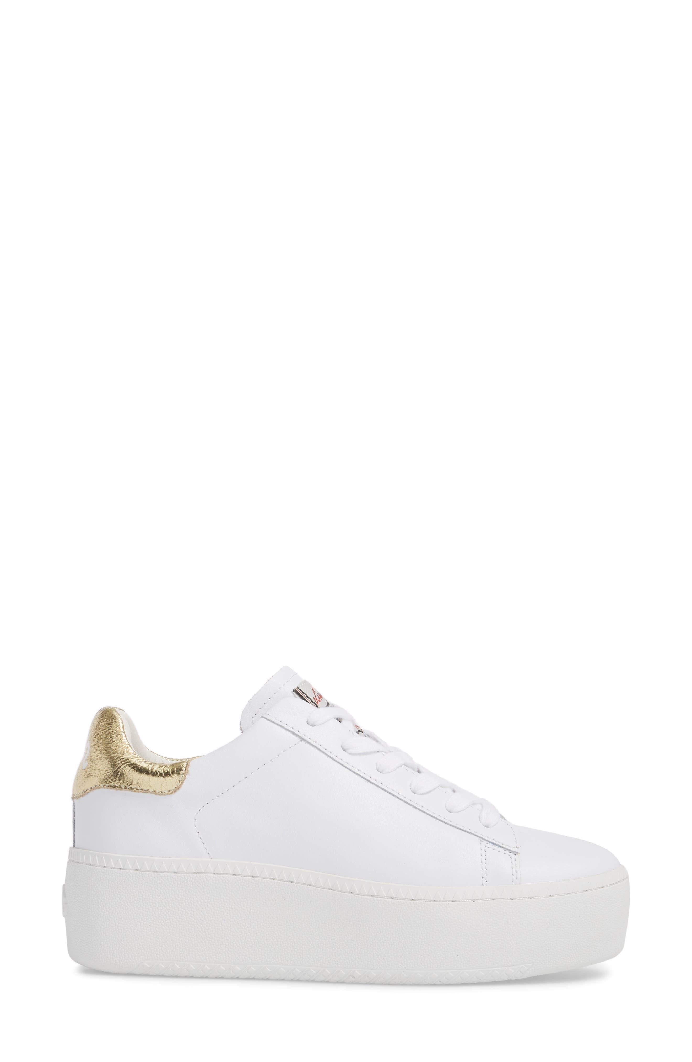 Cult Platform Sneaker,                             Alternate thumbnail 3, color,                             White/ Ariel