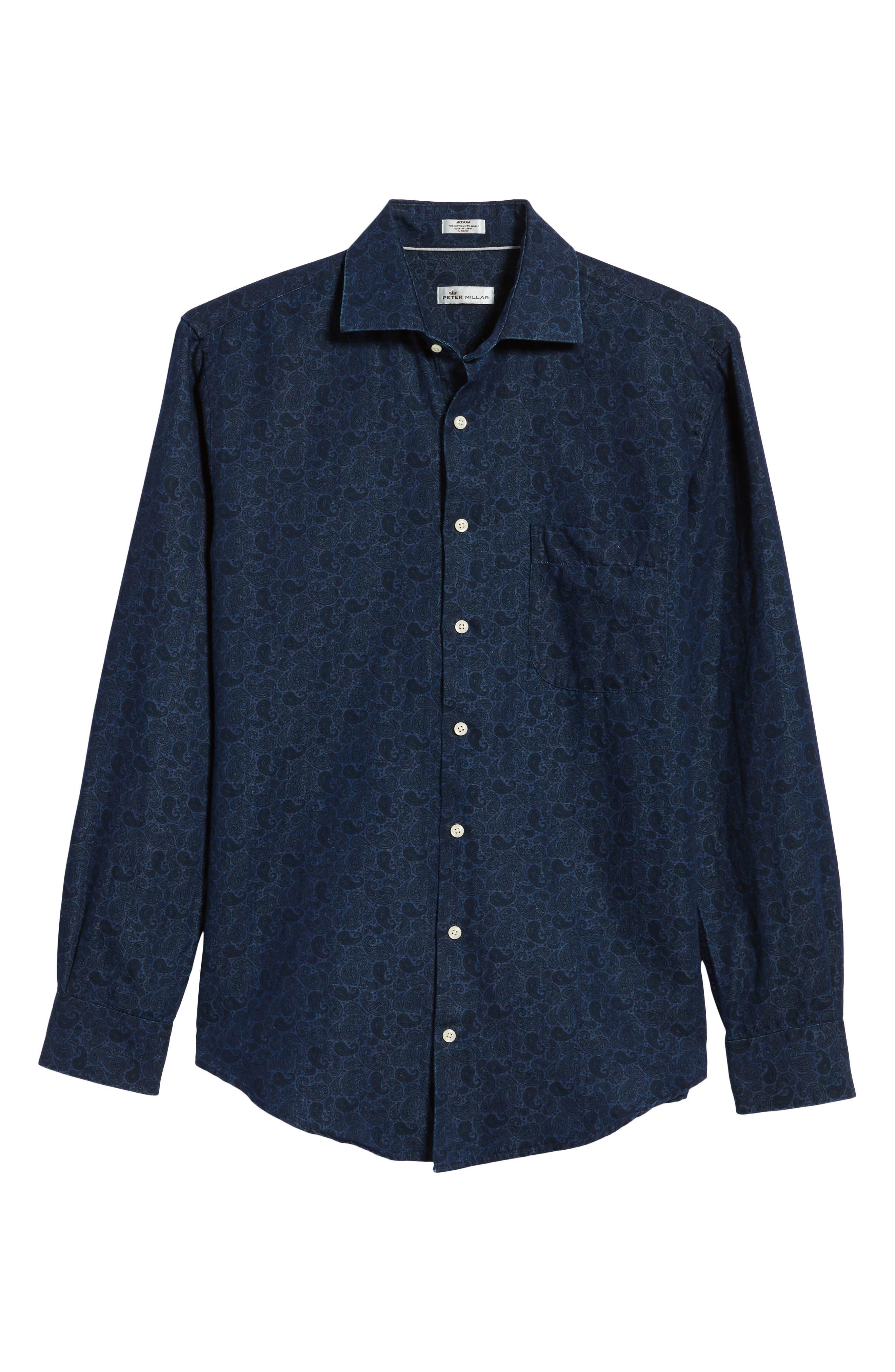 Crown Cool Paisley Denim Sport Shirt,                             Alternate thumbnail 6, color,                             Yankee Blue