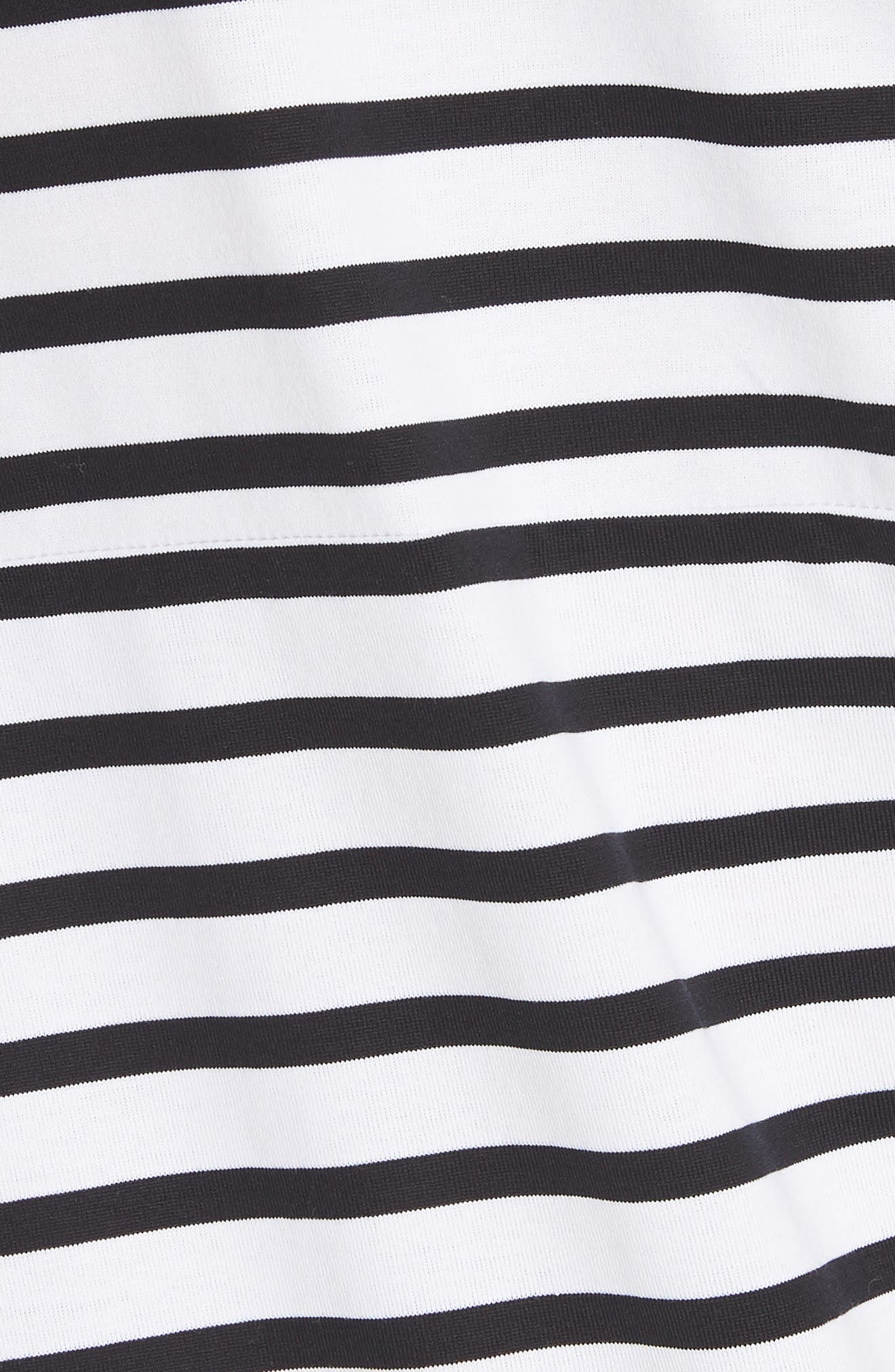 Asymmetrical Stripe Dress,                             Alternate thumbnail 5, color,                             White/ Black
