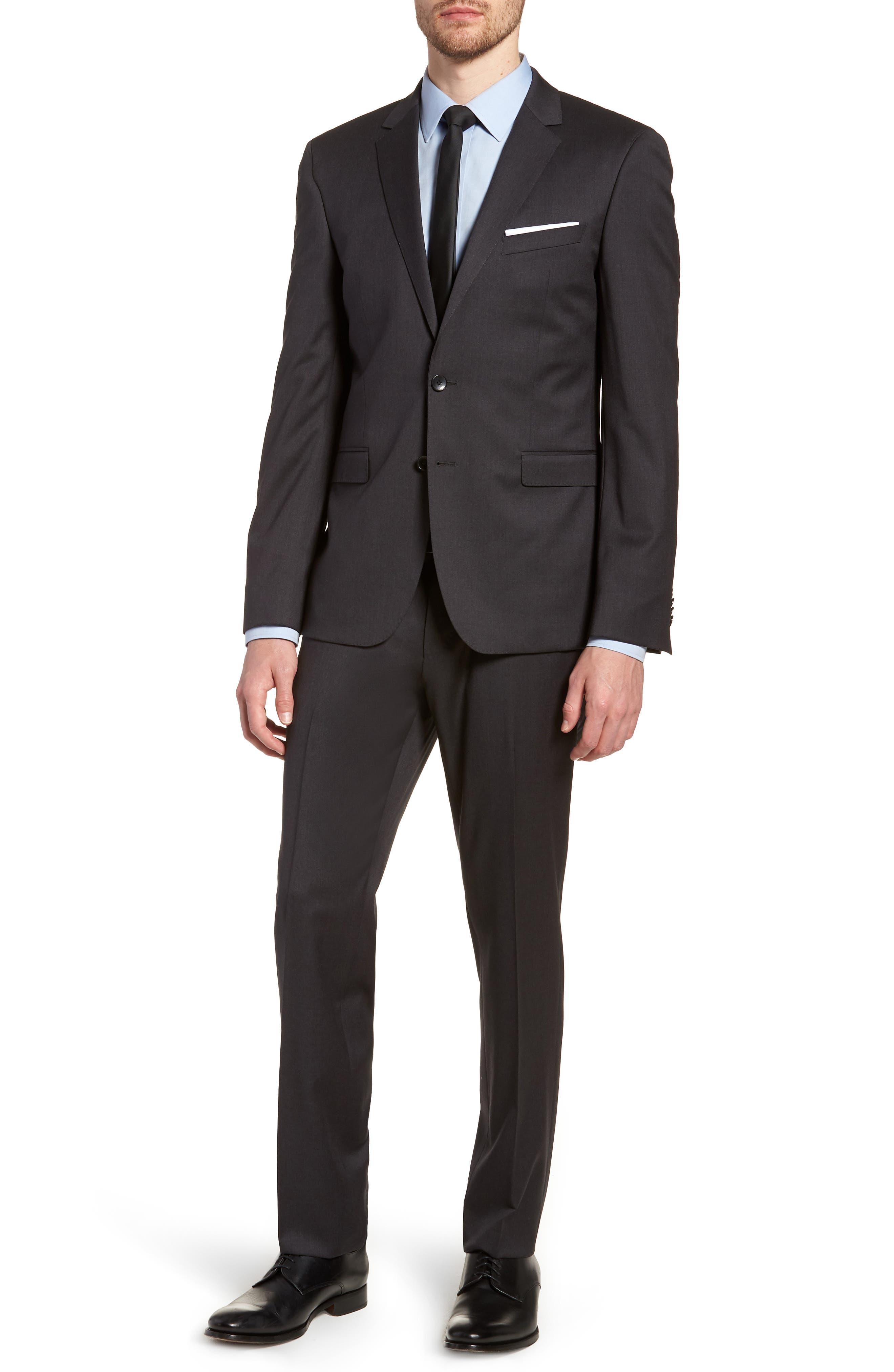 'Ryan/Win' Extra Trim Fit Solid Wool Suit,                             Main thumbnail 1, color,                             Dark Grey