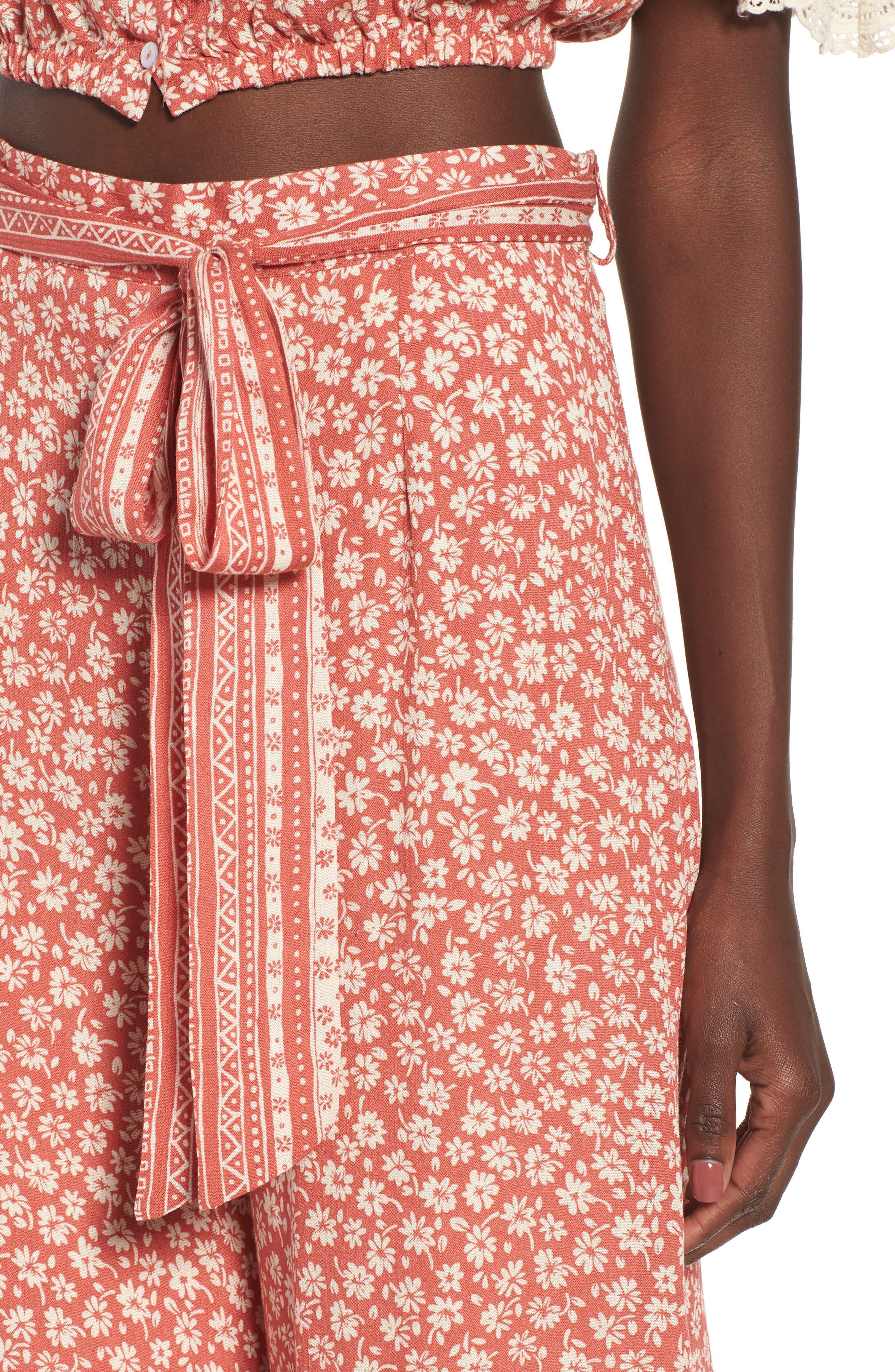 Sun's Out Tie Waist Culottes,                             Alternate thumbnail 7, color,                             Coral