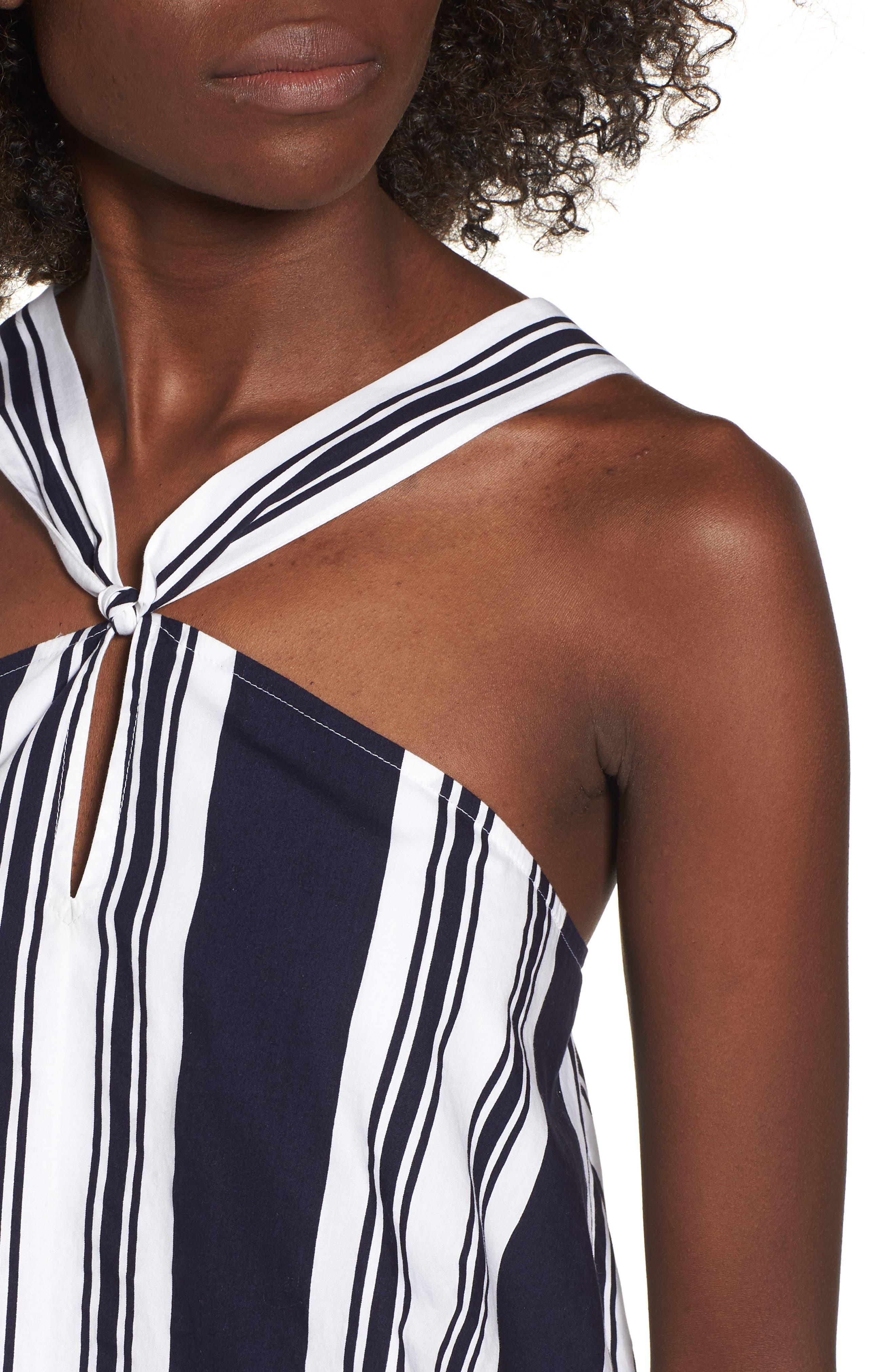 Stripe Poplin Halter Top,                             Alternate thumbnail 4, color,                             Navy Peacoat Umbrella Stripe