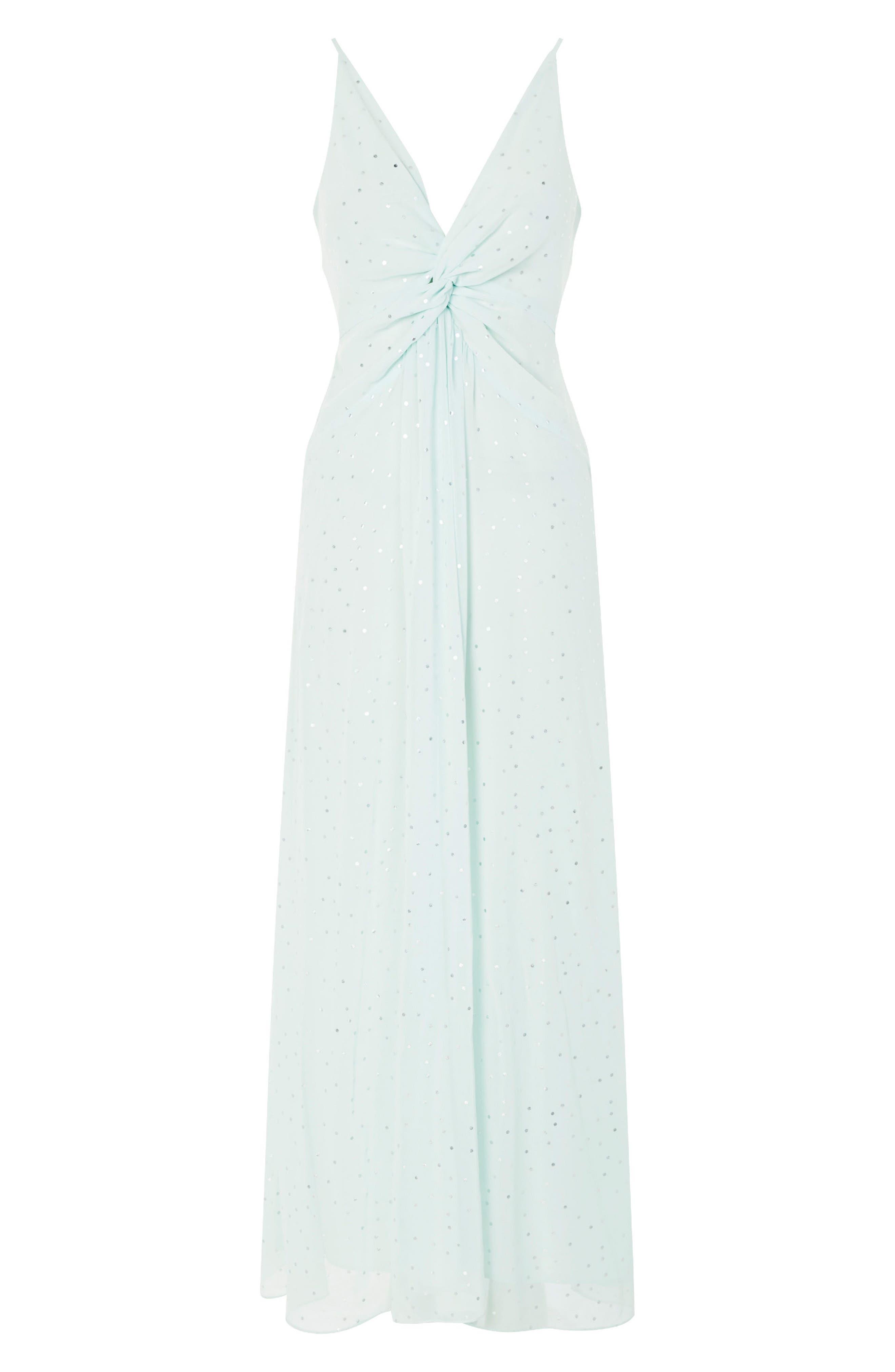 Spot Foil Maxi Dress,                             Alternate thumbnail 4, color,                             Mint Multi