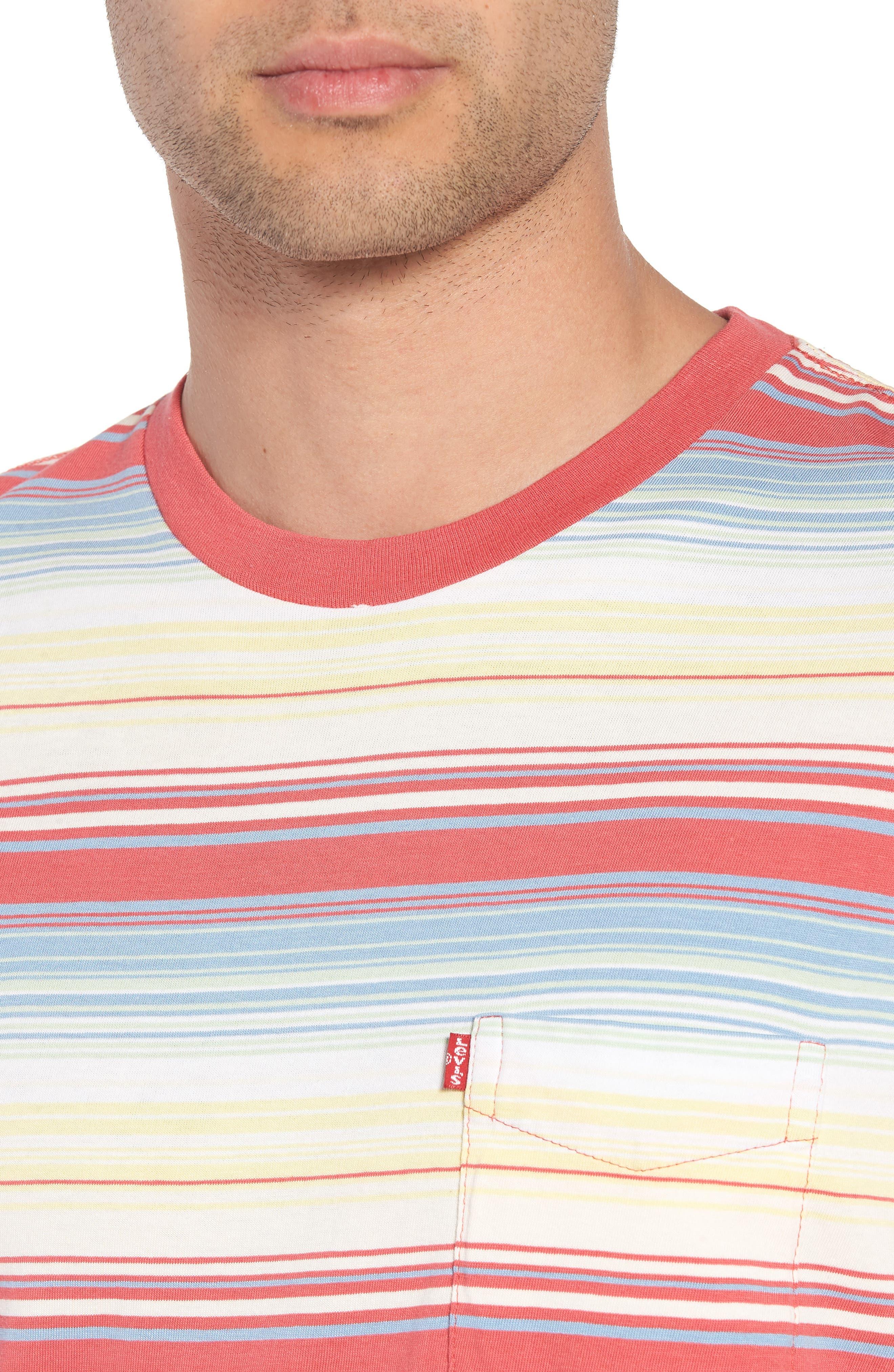 Set-In Sunset Pocket T-Shirt,                             Alternate thumbnail 4, color,                             Fiesta Stripe