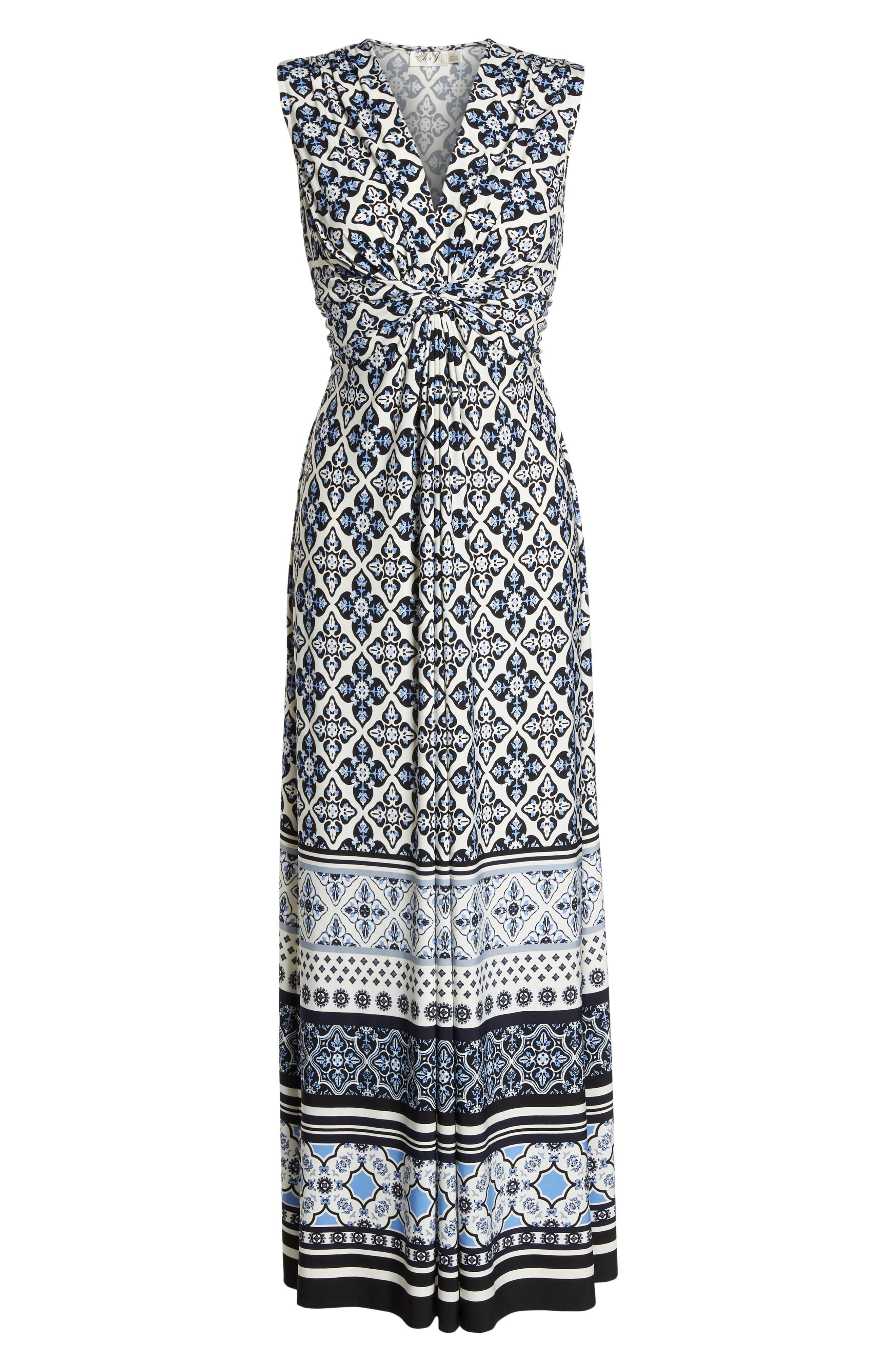 Knot Detail Jersey Maxi Dress,                             Alternate thumbnail 7, color,                             Blue/ White
