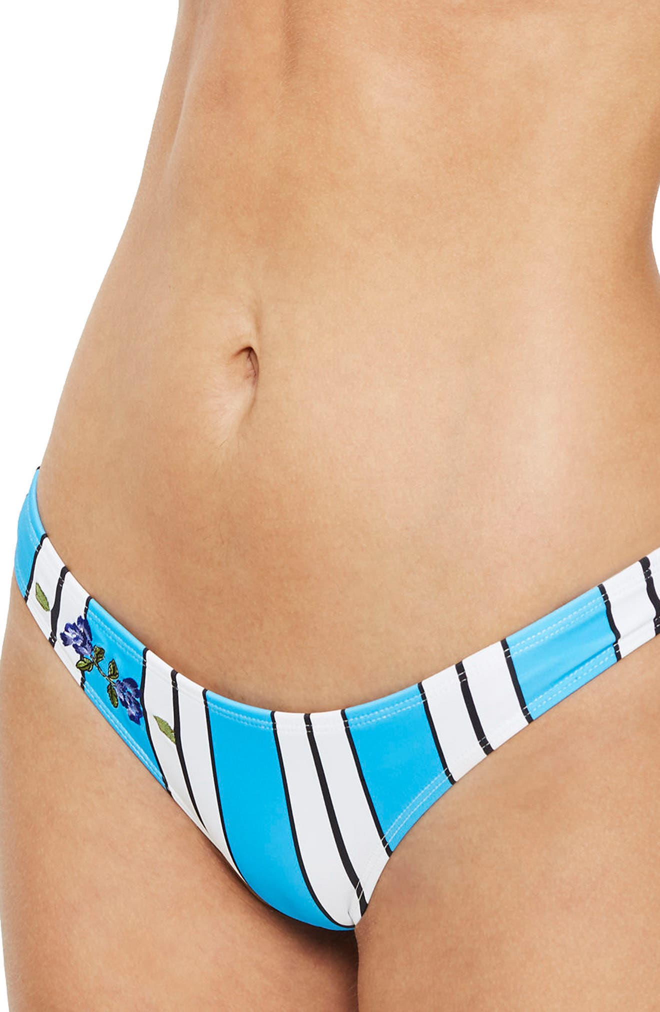 Stripe Floral Embroidered High Leg Bikini Bottoms,                         Main,                         color, Blue Multi