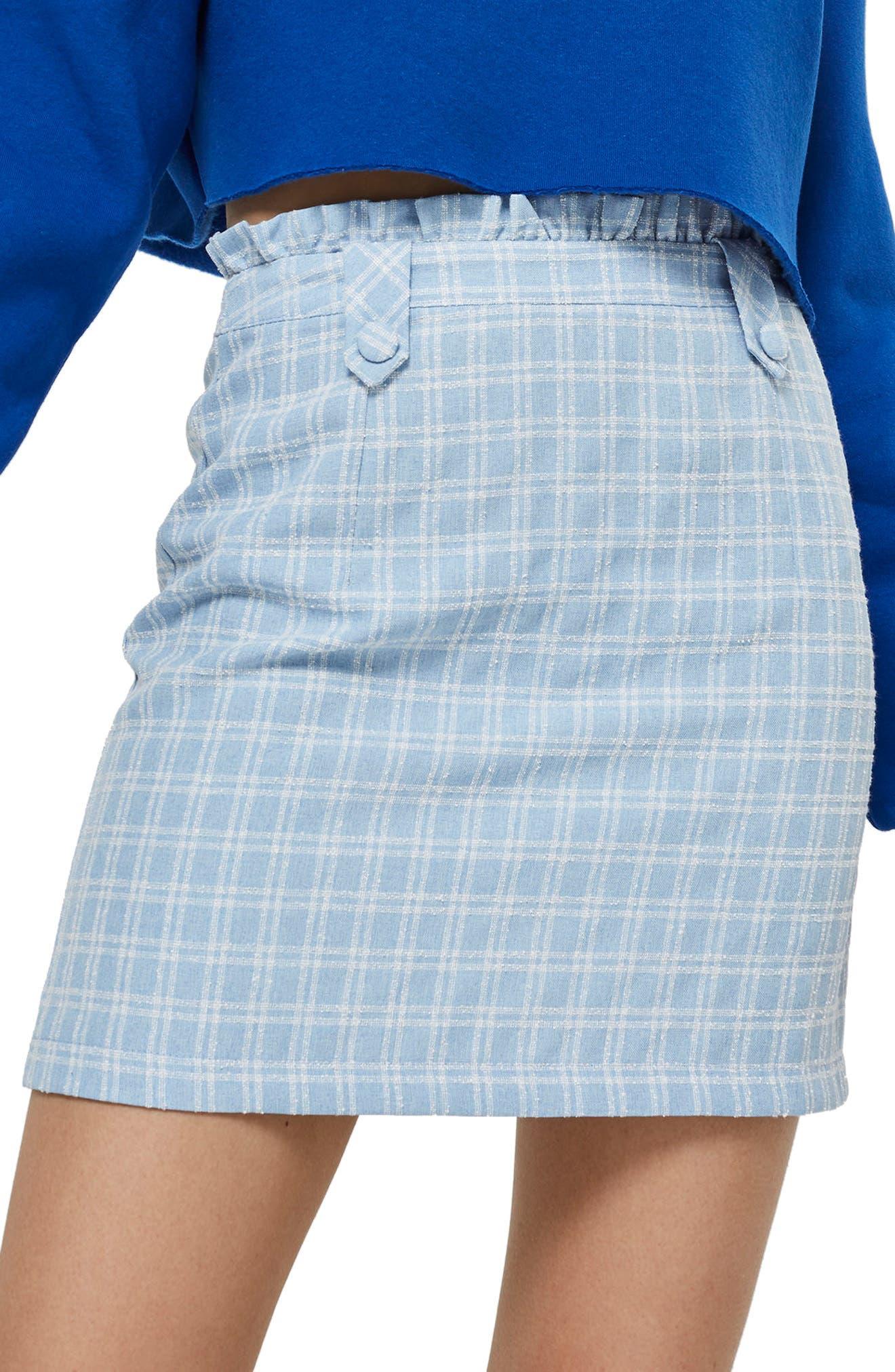 Check Bouclé Frill Miniskirt,                             Main thumbnail 1, color,                             Light Blue Multi