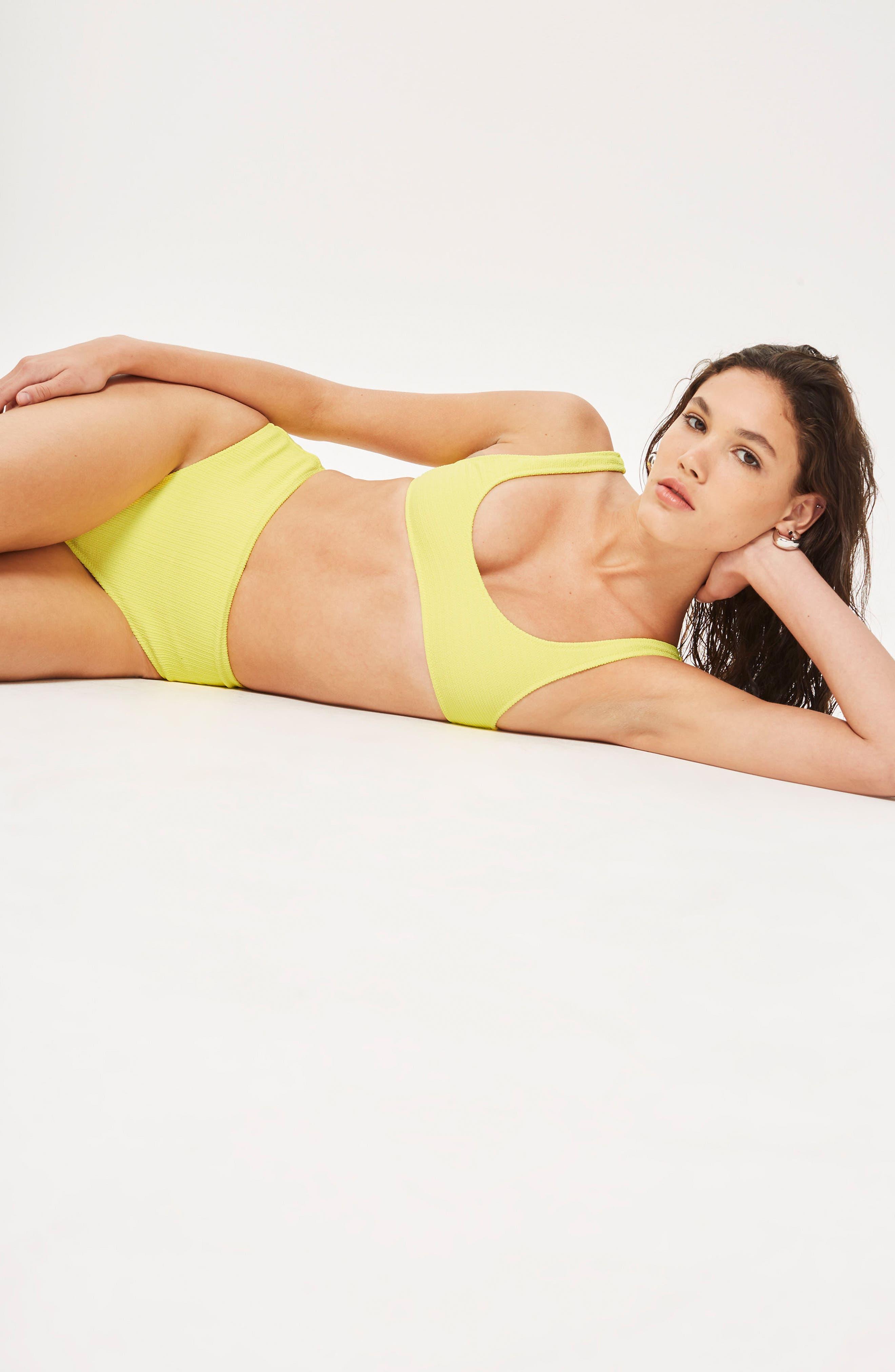 Crinkle Crop Bikini Top,                             Alternate thumbnail 3, color,                             Yellow
