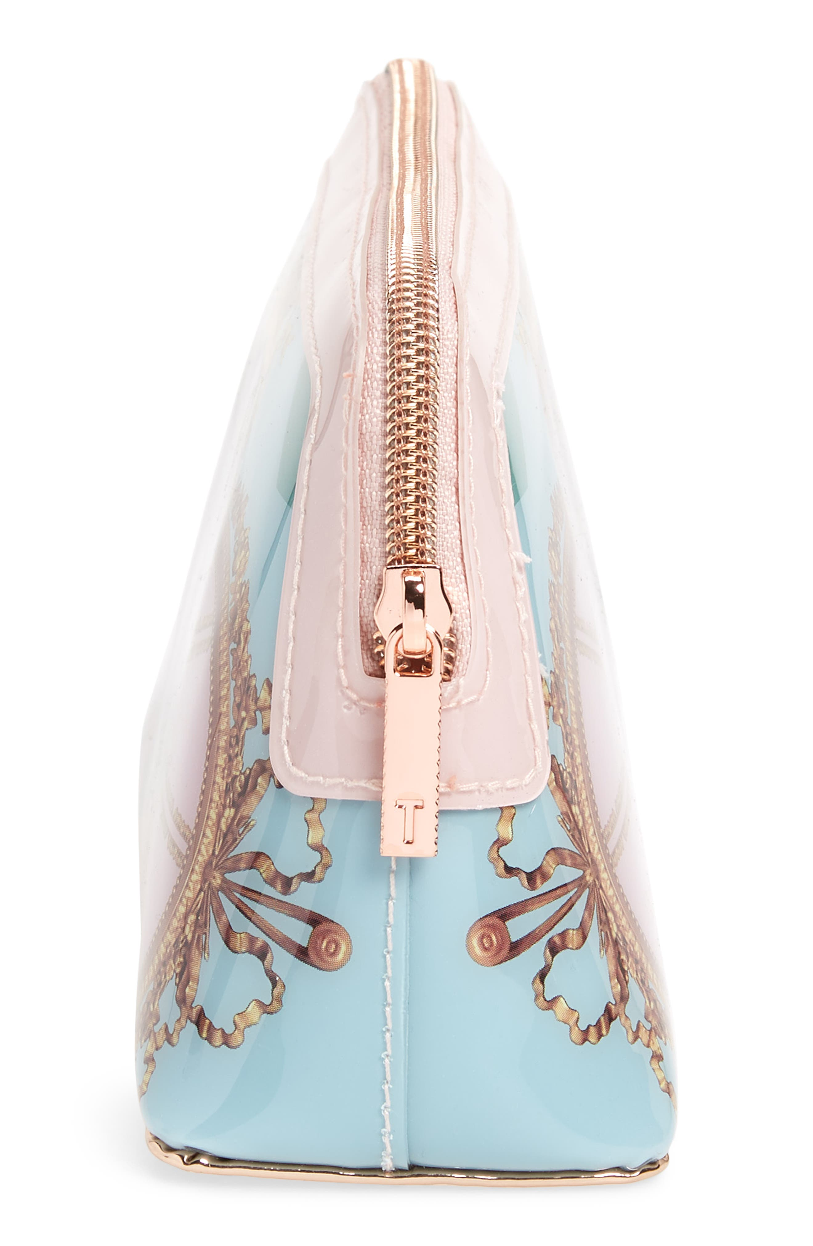 Dona Versailles Print Cosmetics Bag,                             Alternate thumbnail 4, color,                             Teal