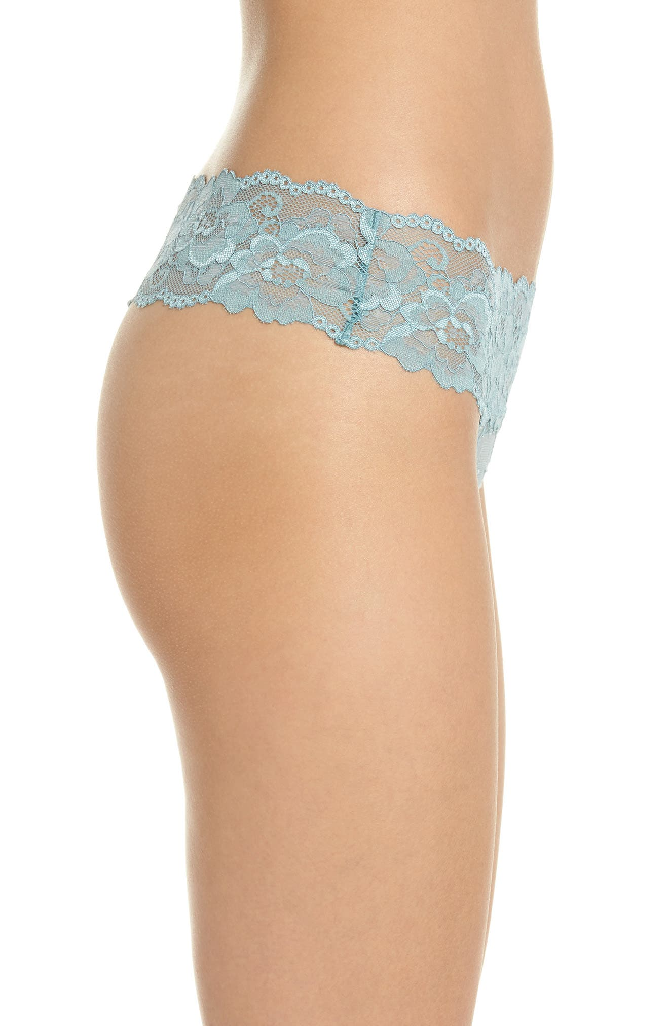Honeydew Lace Thong,                             Alternate thumbnail 3, color,                             Prickly Pear