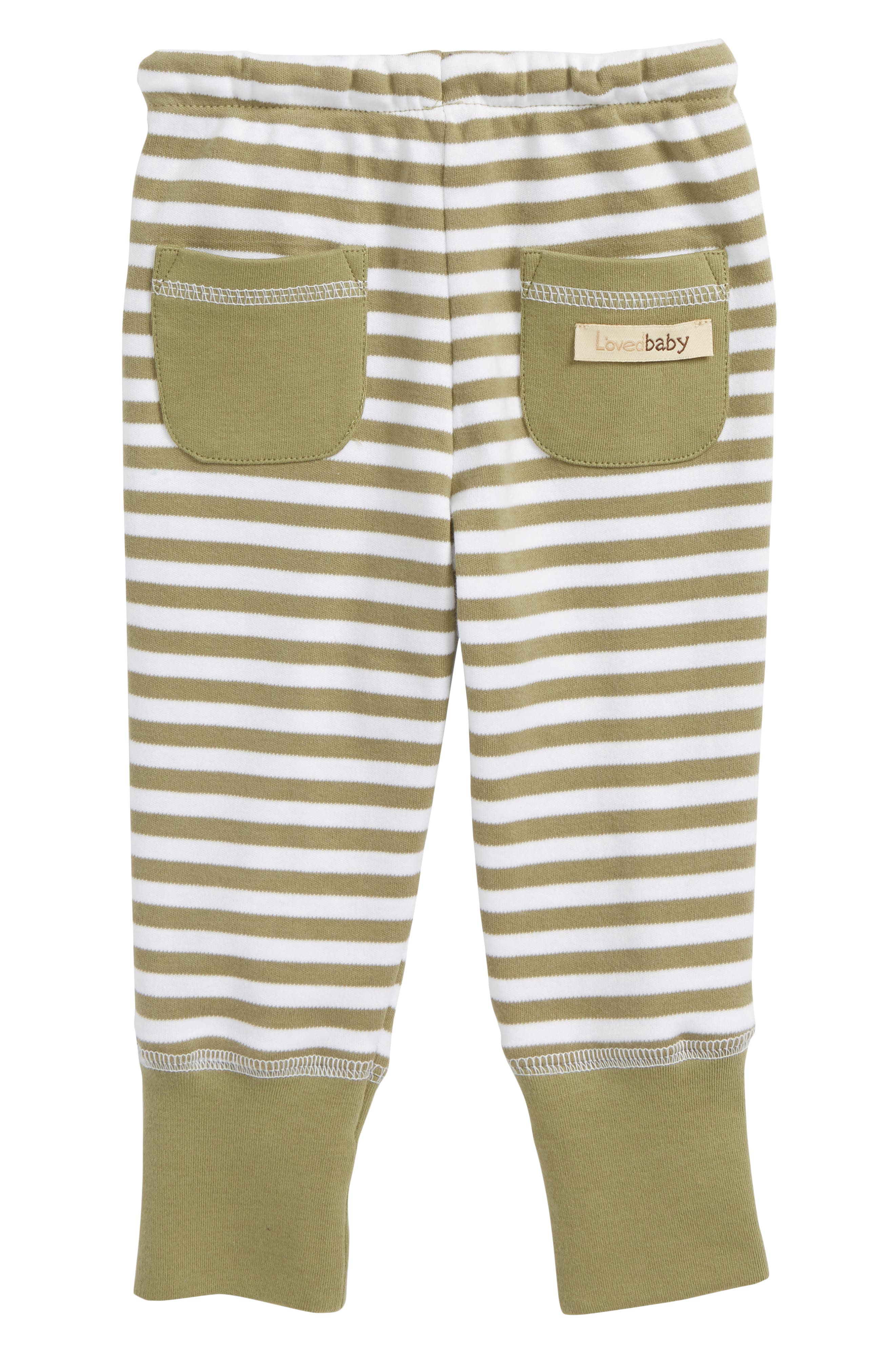 Stripe Organic Cotton Jogger Pants,                             Alternate thumbnail 2, color,                             Sage/ White