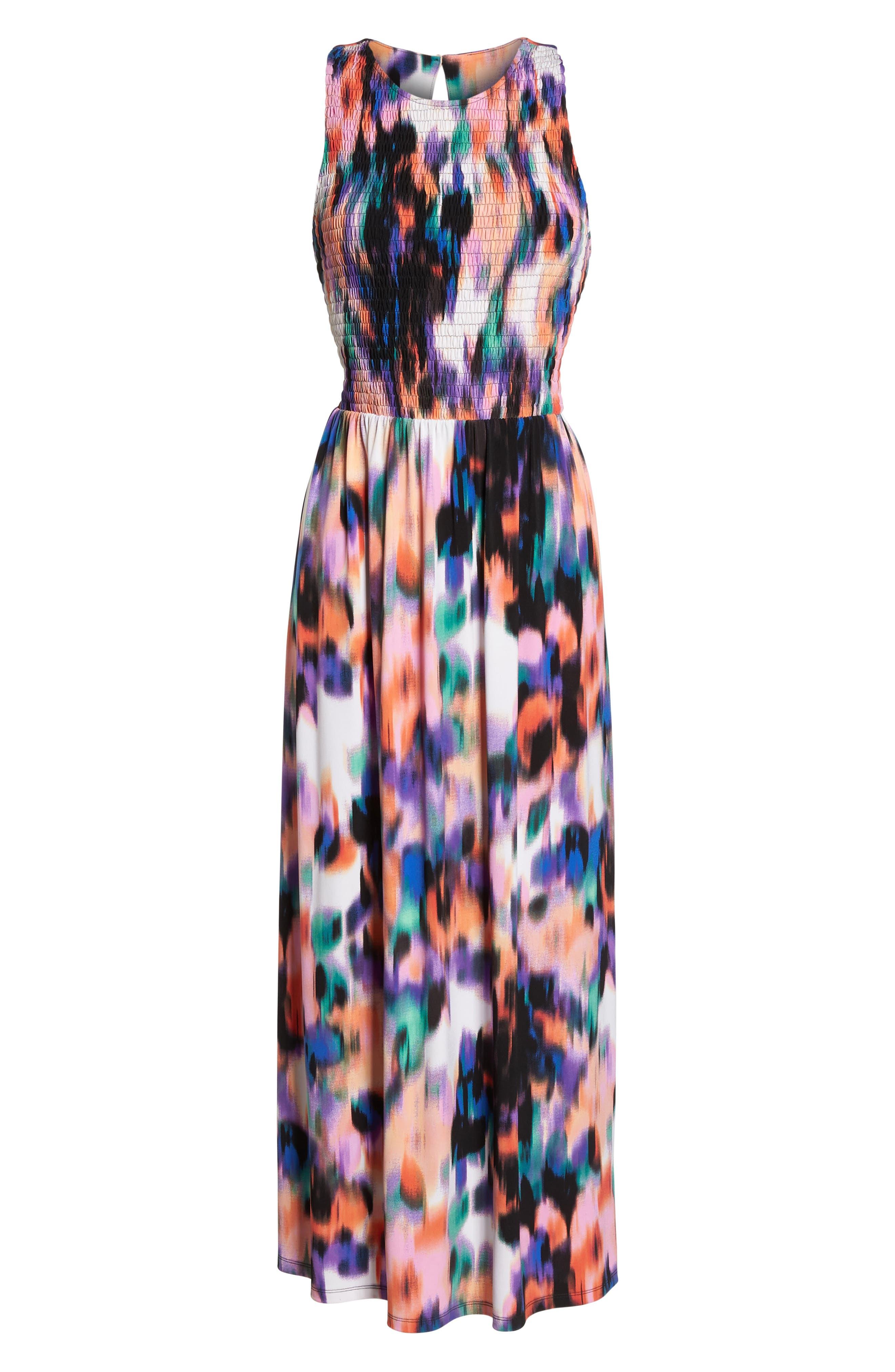 Print Matte Jersey Maxi Dress,                             Alternate thumbnail 7, color,                             Soft White/ Multi