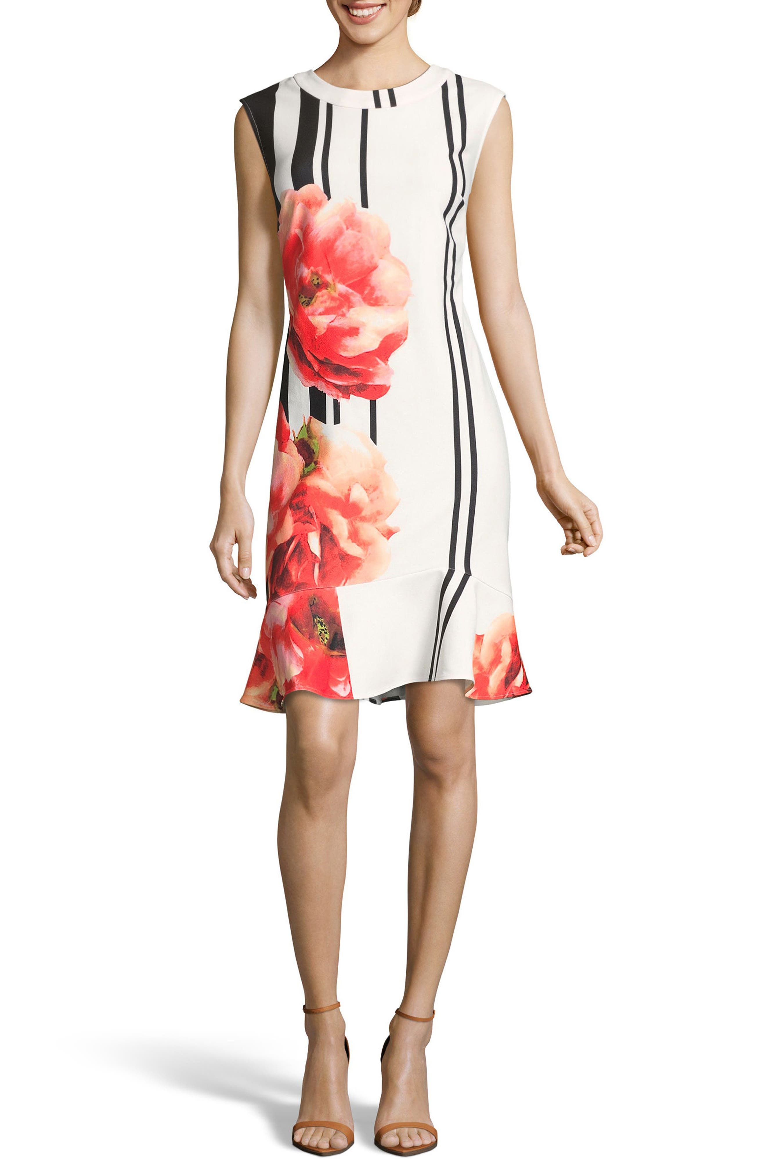 Placement Print Sheath Dress,                         Main,                         color, Ivory/ Red