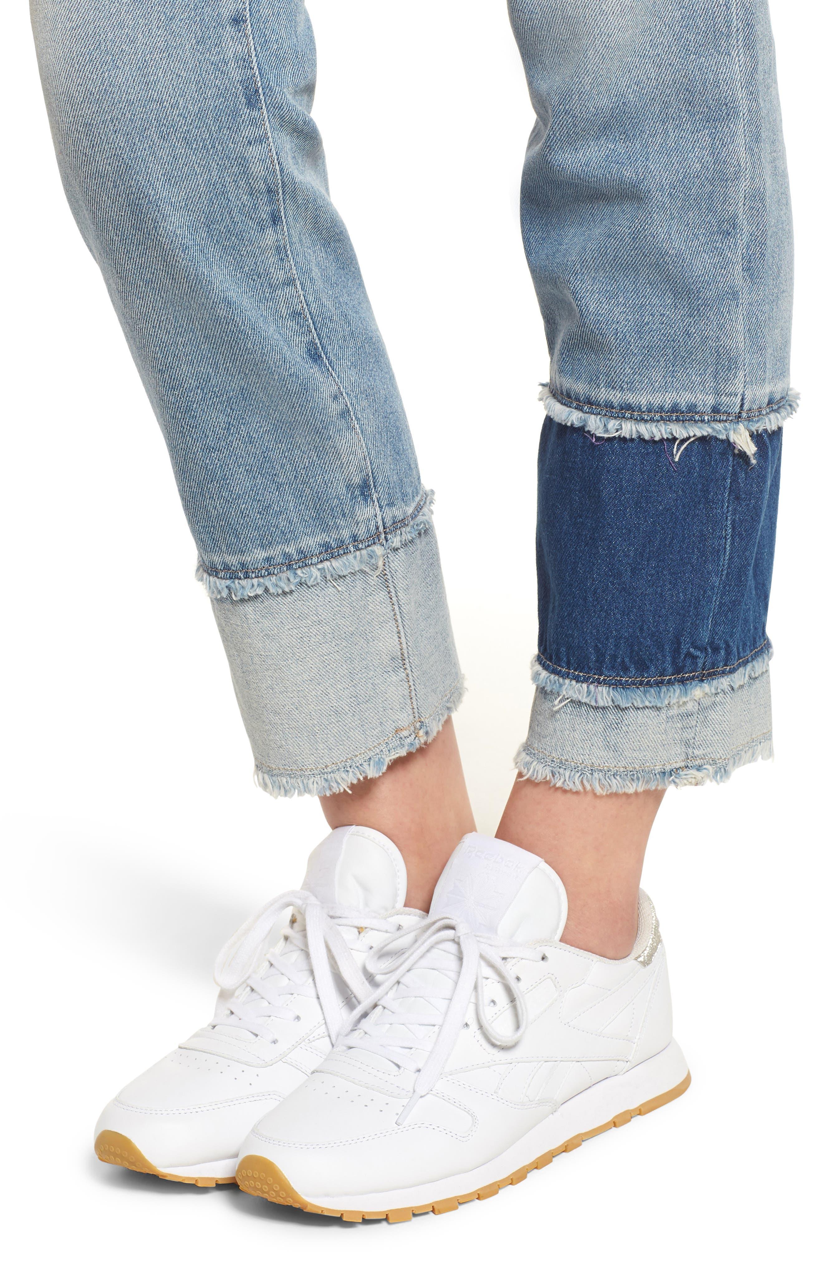 Izzy Layered Cuff Slim Leg Jeans,                             Alternate thumbnail 4, color,                             Raw Patch Light Blue Rigid