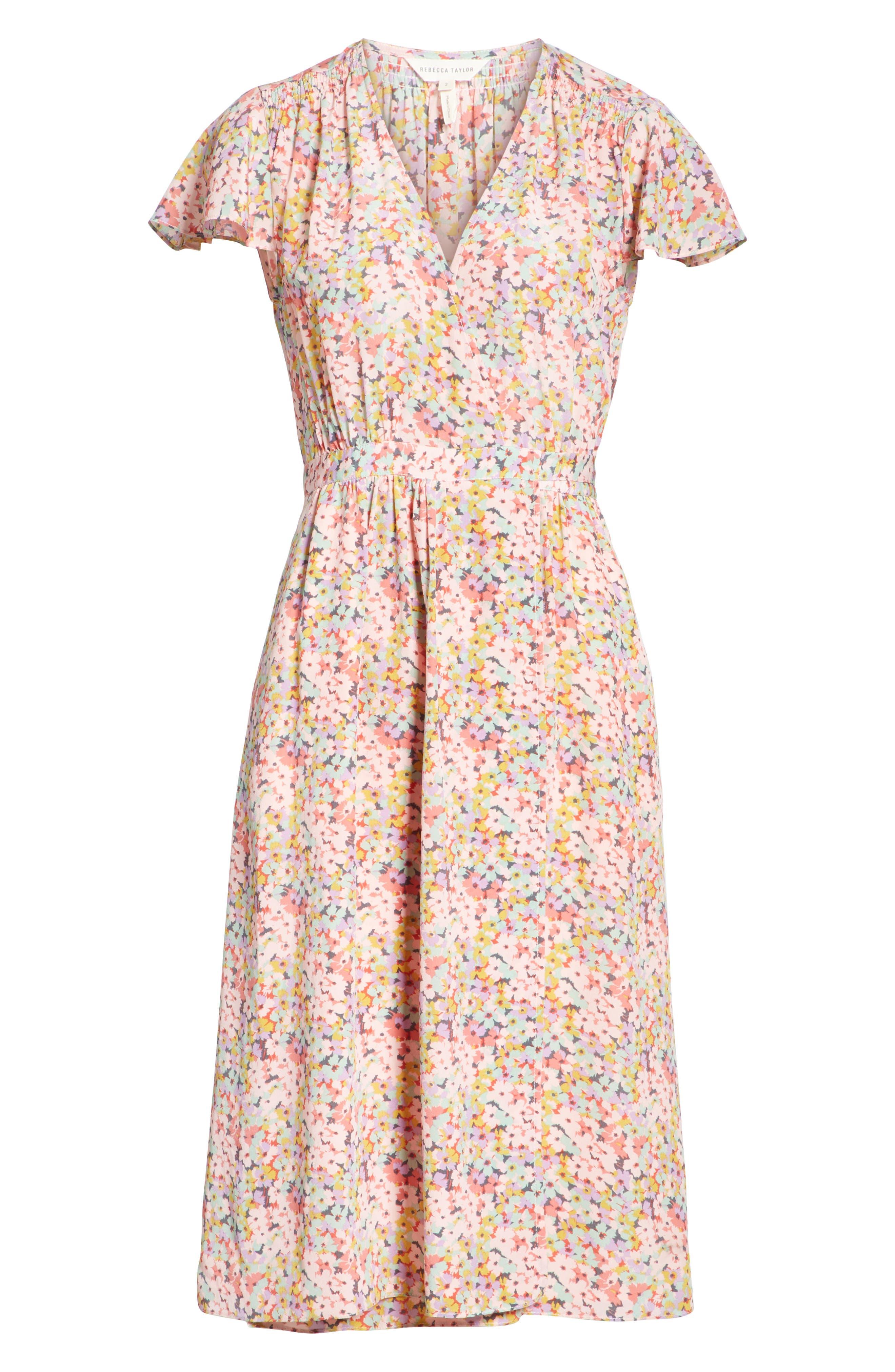 Margo Faux Wrap Silk Dress,                             Alternate thumbnail 6, color,                             Multi