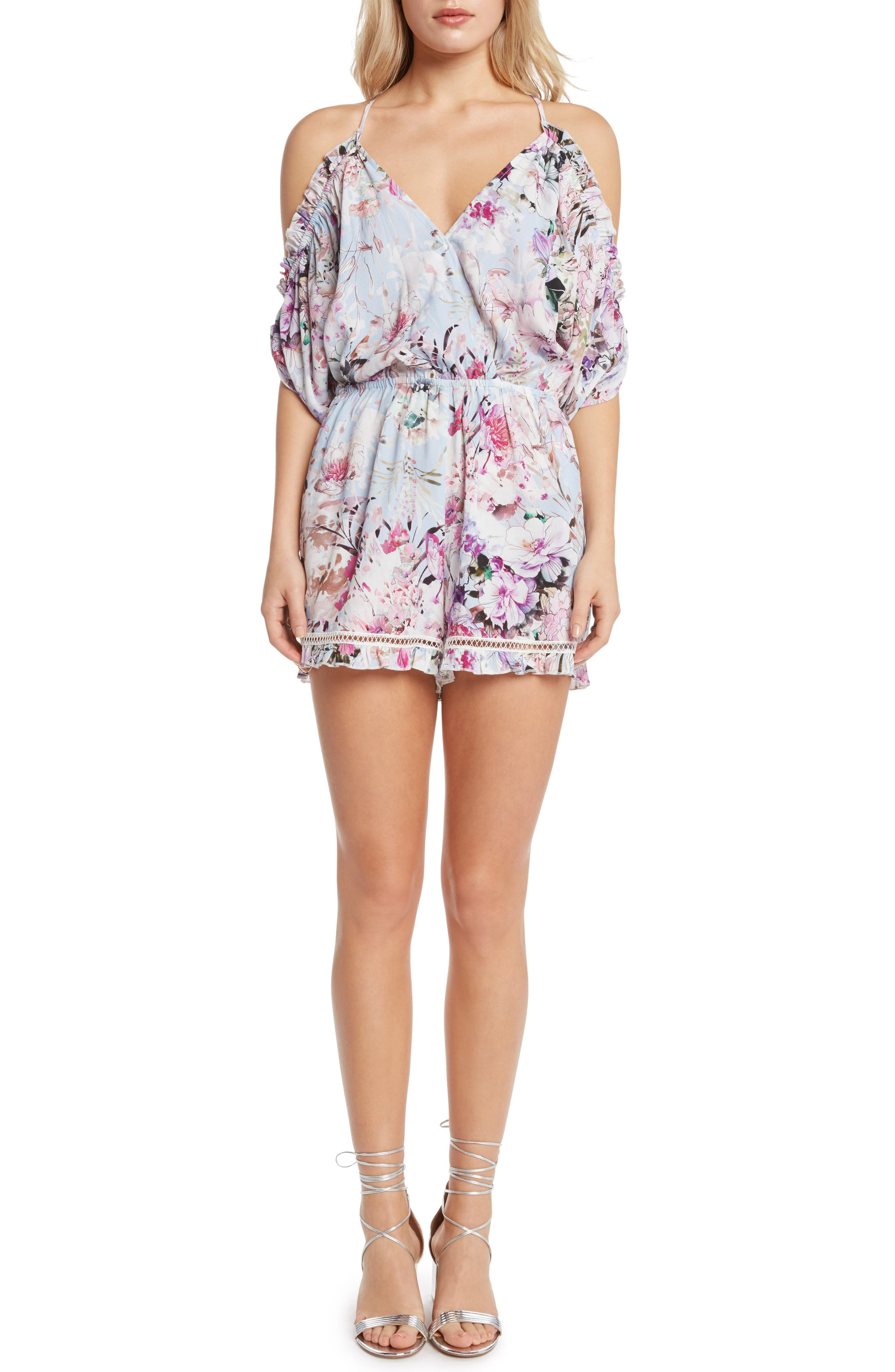 Alternate Image 1 Selected - Willow & Clay Print Cold Shoulder Romper