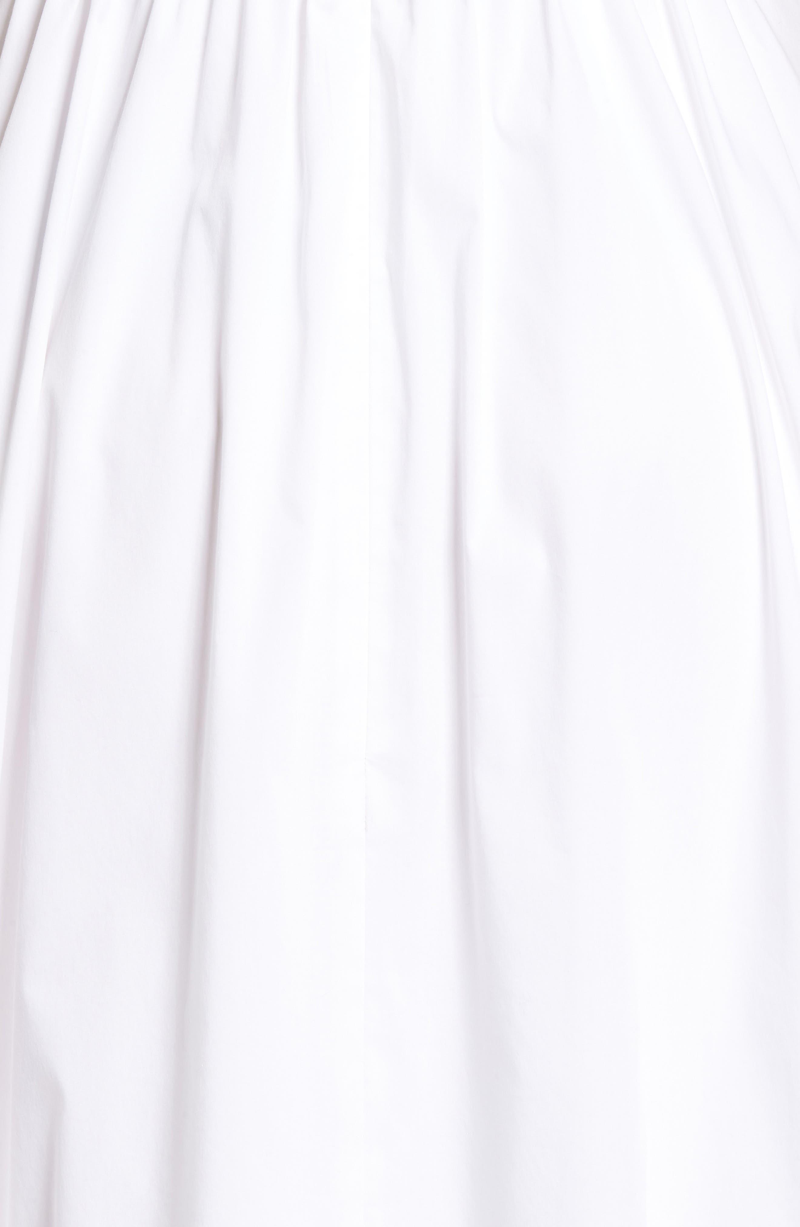 Ruffle Fit & Flare Midi Dress,                             Alternate thumbnail 6, color,                             White