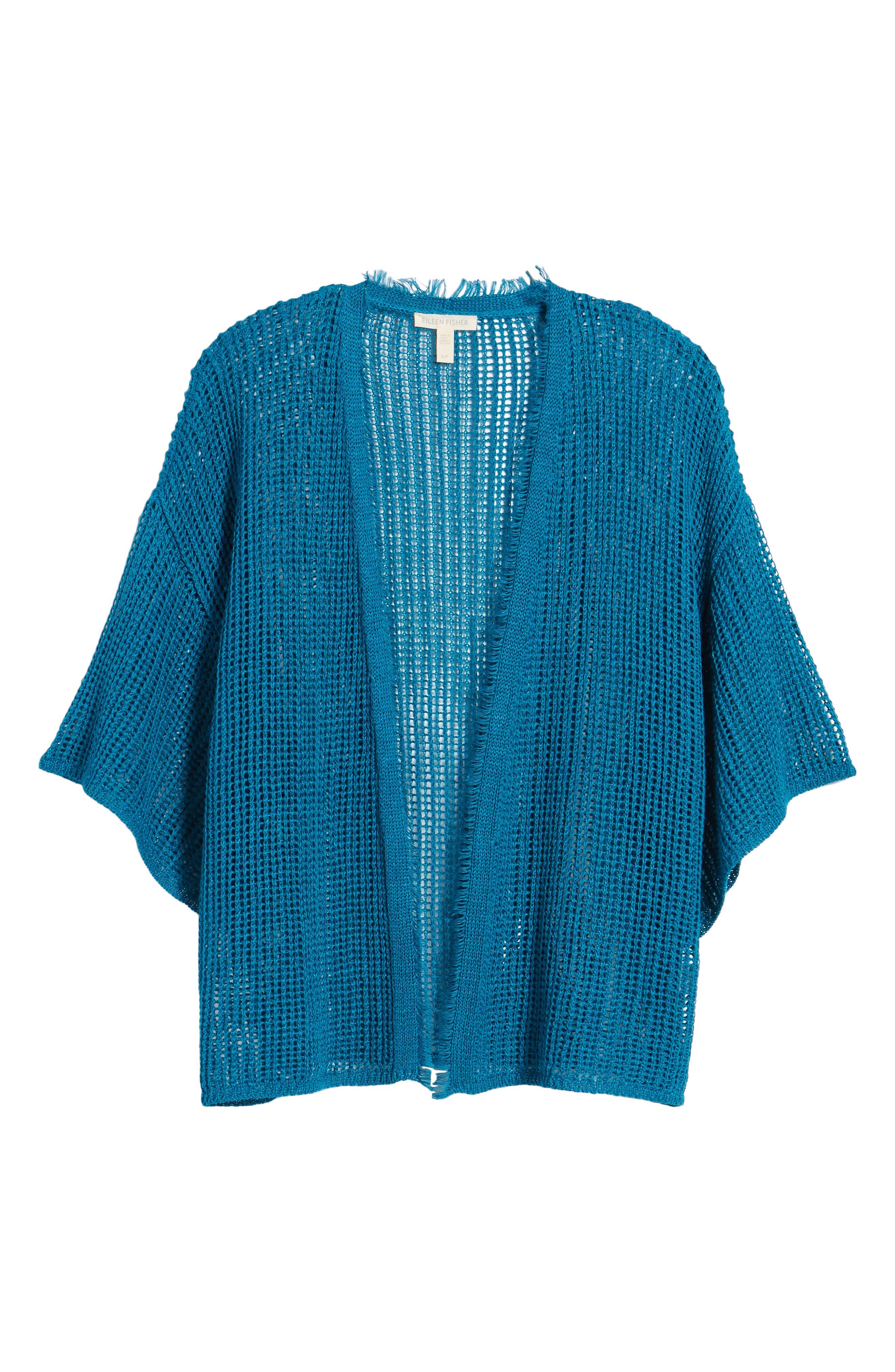 Short Organic Linen Cardigan,                             Alternate thumbnail 7, color,                             Jewel