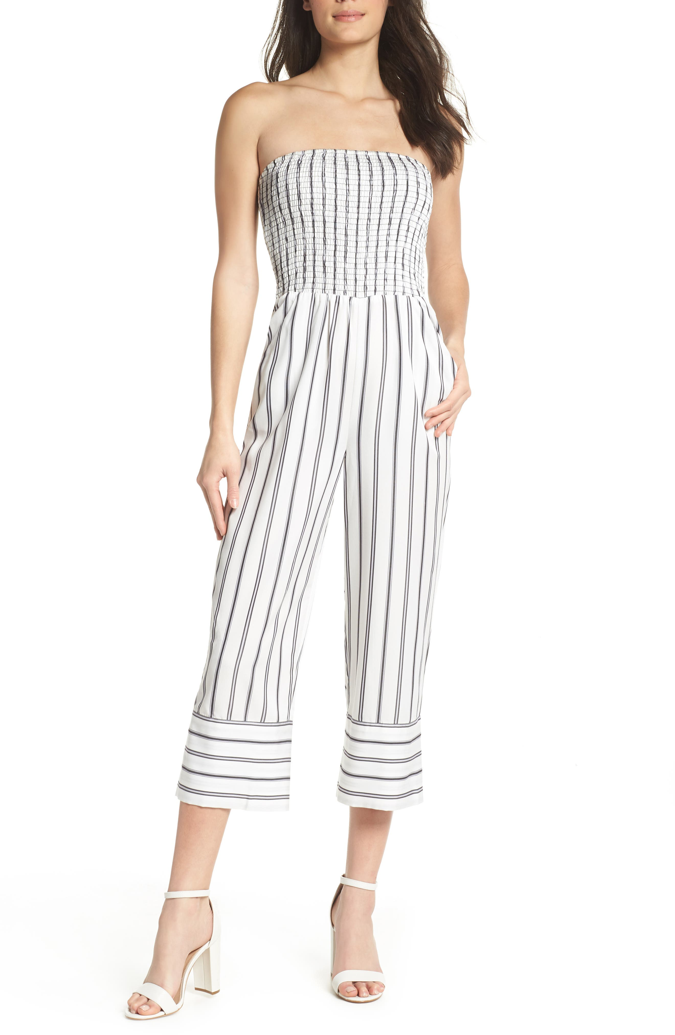 Get in the Grove Stripe Strapless Jumpsuit,                             Main thumbnail 1, color,                             Black/ White Uneven Stripe