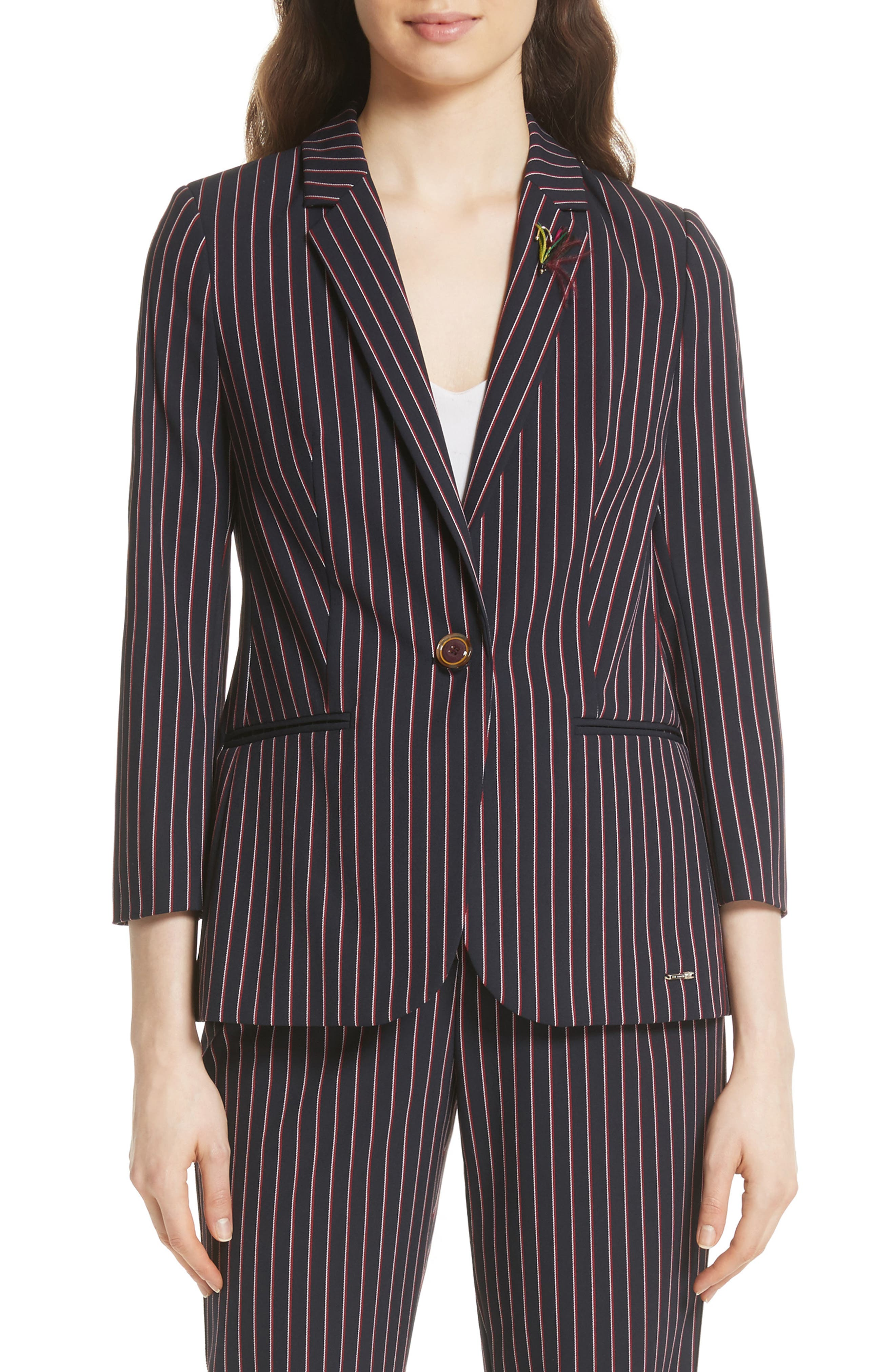 Pinstripe Suit Jacket,                         Main,                         color, Navy