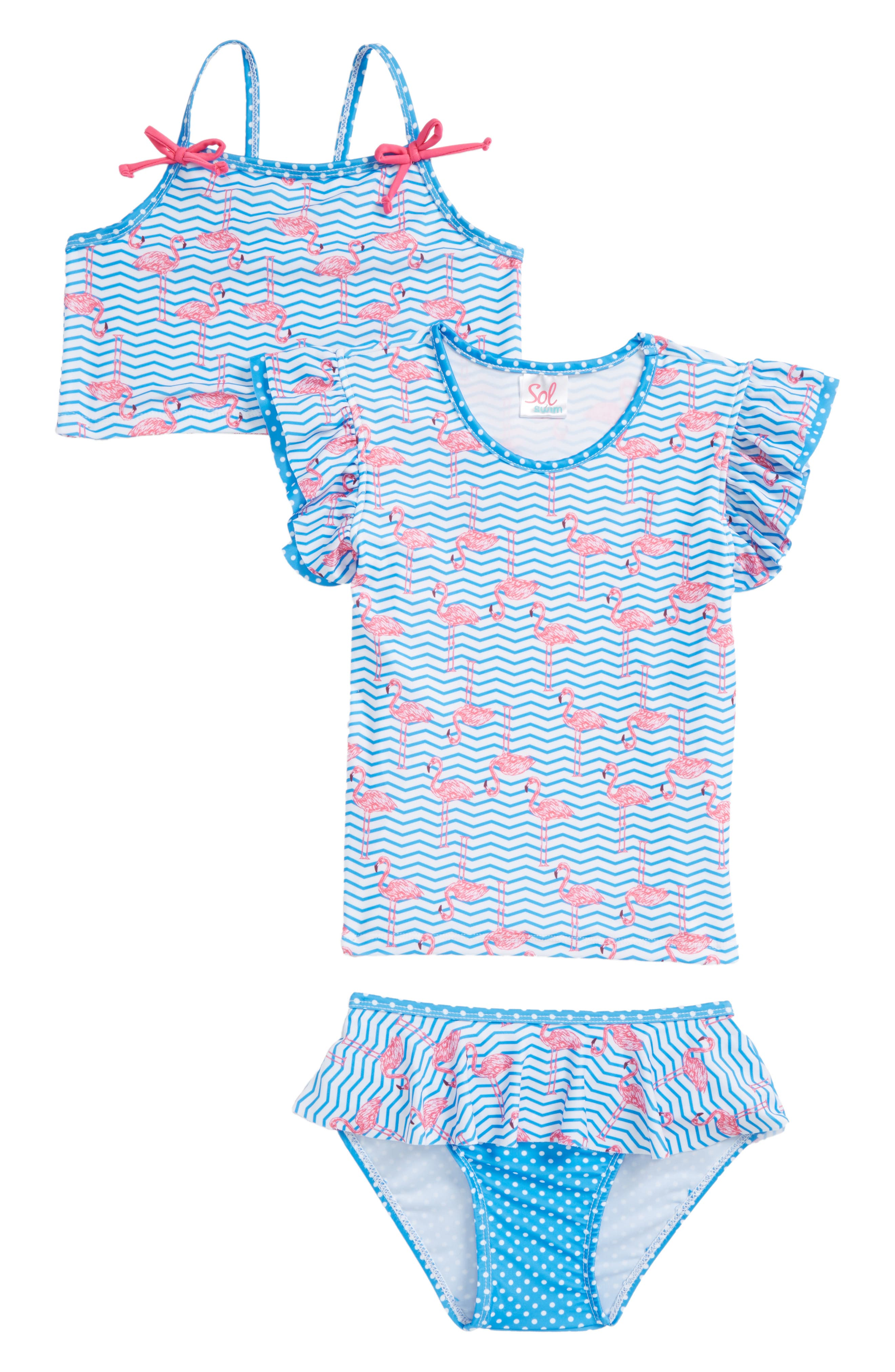 Zig Zag Flamingos Two-Piece Swimsuit with Rashguard,                         Main,                         color, White/ Blue
