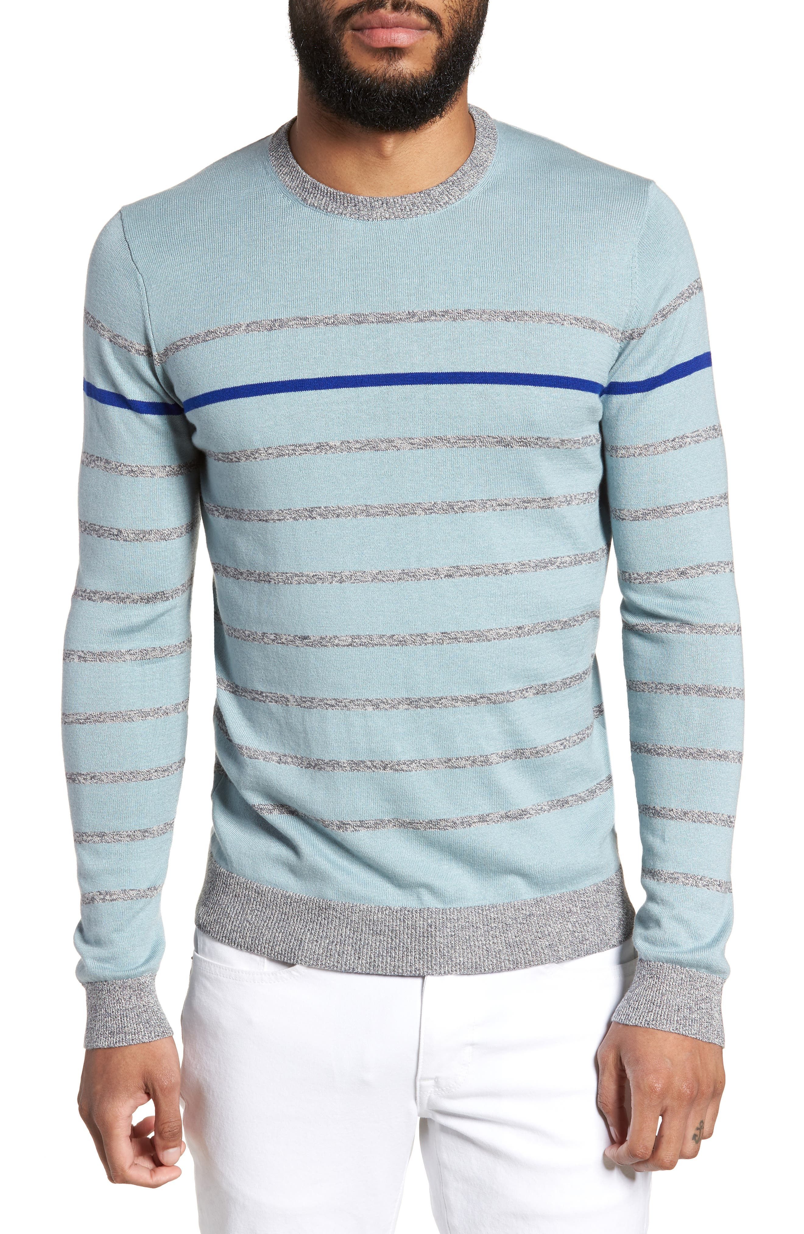 Britnay Trim Fit Stripe Crewneck Sweater,                             Main thumbnail 1, color,                             Blue
