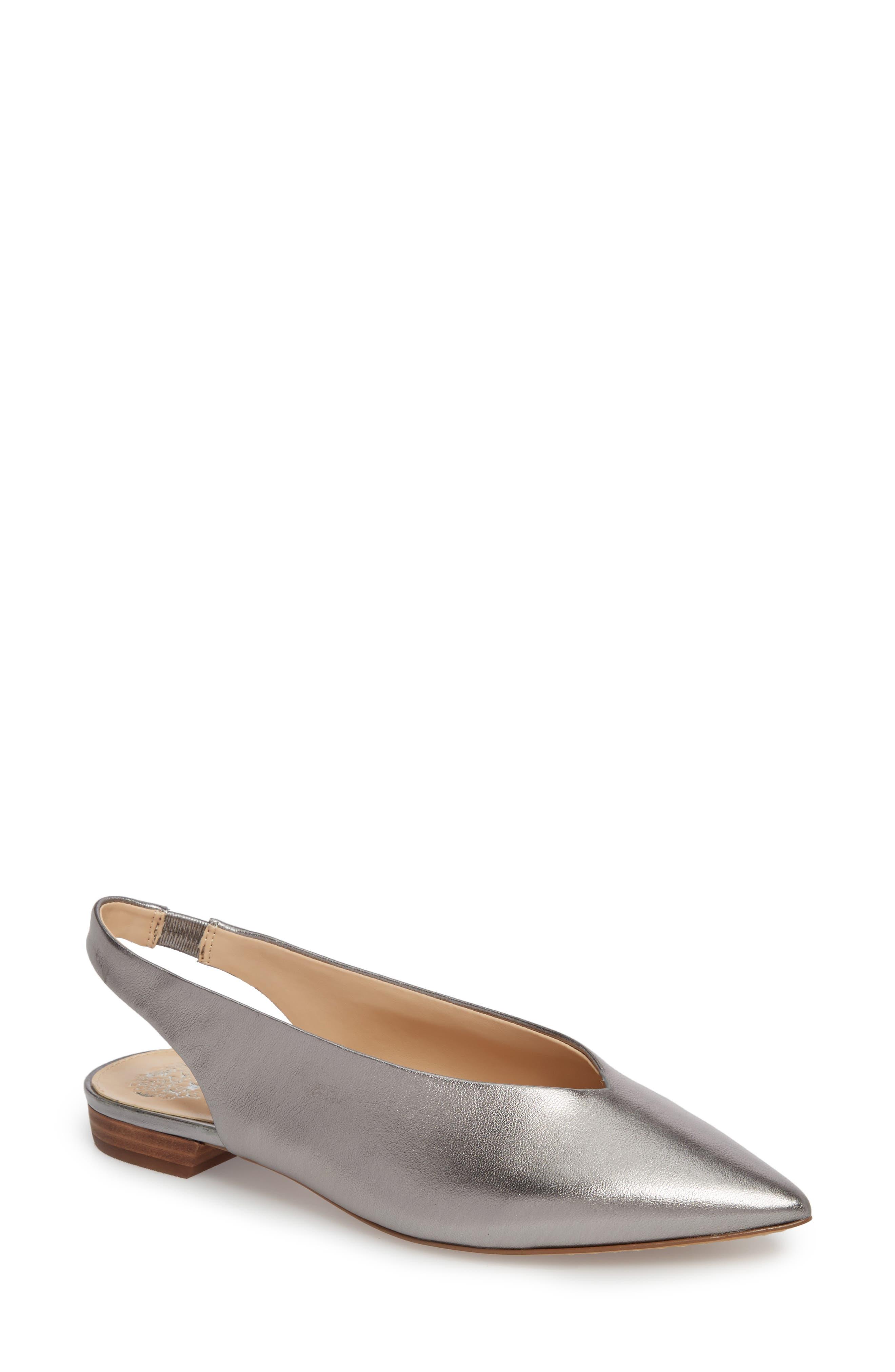 Matilda Slingback Flat,                             Main thumbnail 1, color,                             Radiant Silver Leather