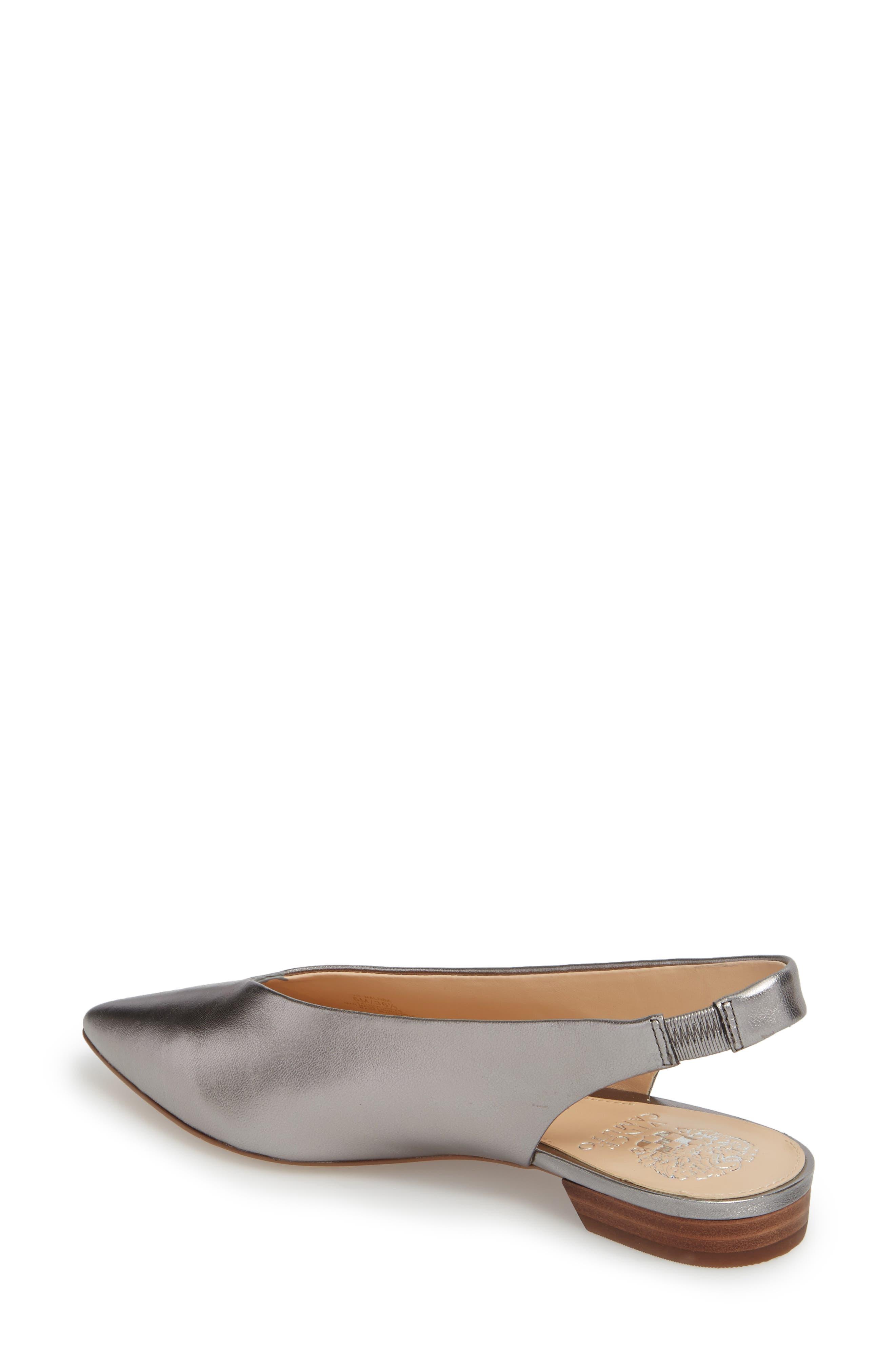 Matilda Slingback Flat,                             Alternate thumbnail 2, color,                             Radiant Silver Leather