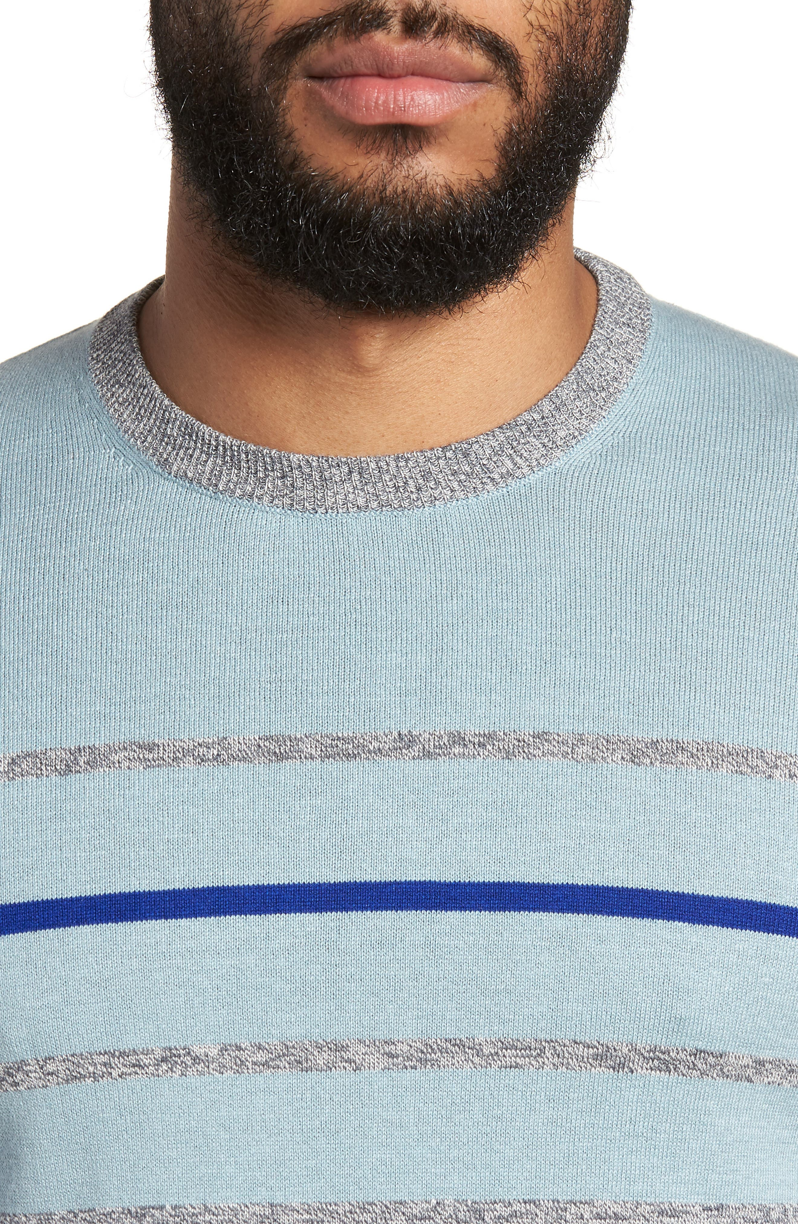 Britnay Trim Fit Stripe Crewneck Sweater,                             Alternate thumbnail 4, color,                             Blue
