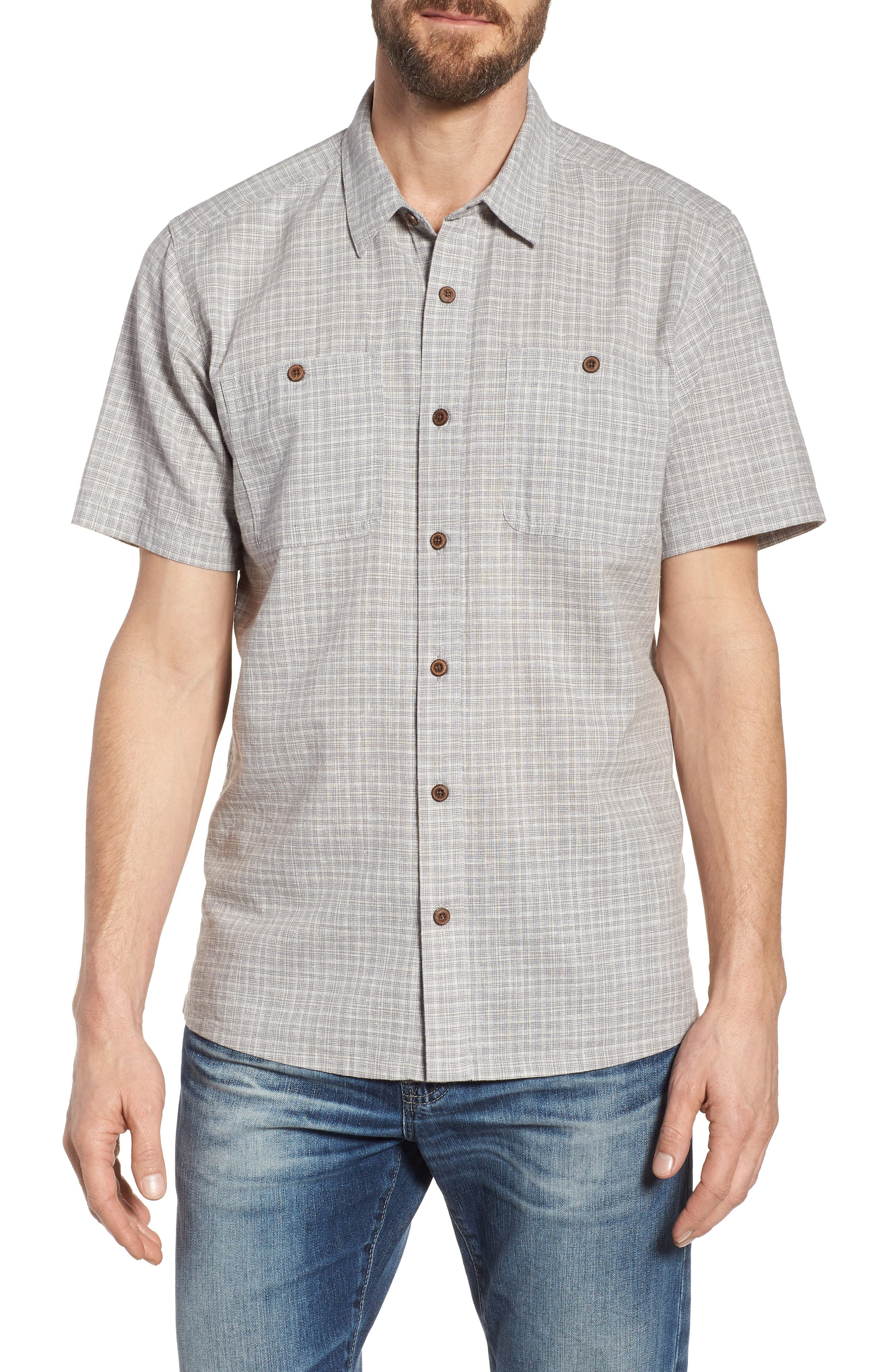 'Back Step' Regular Fit Check Short Sleeve Sport Shirt,                         Main,                         color, Tino/ Feather Grey
