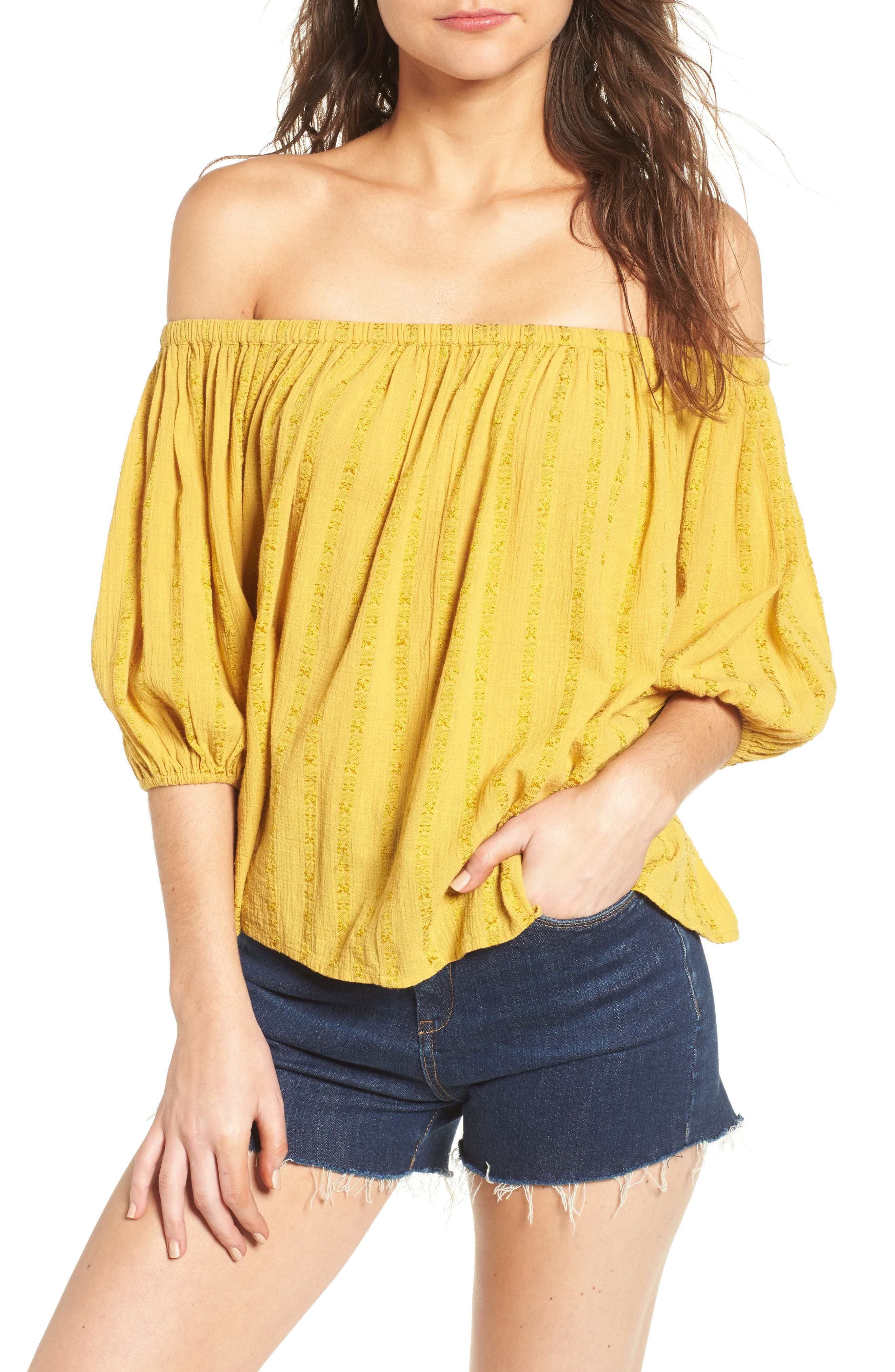 BP. Woven Stripe Off the Shoulder Top