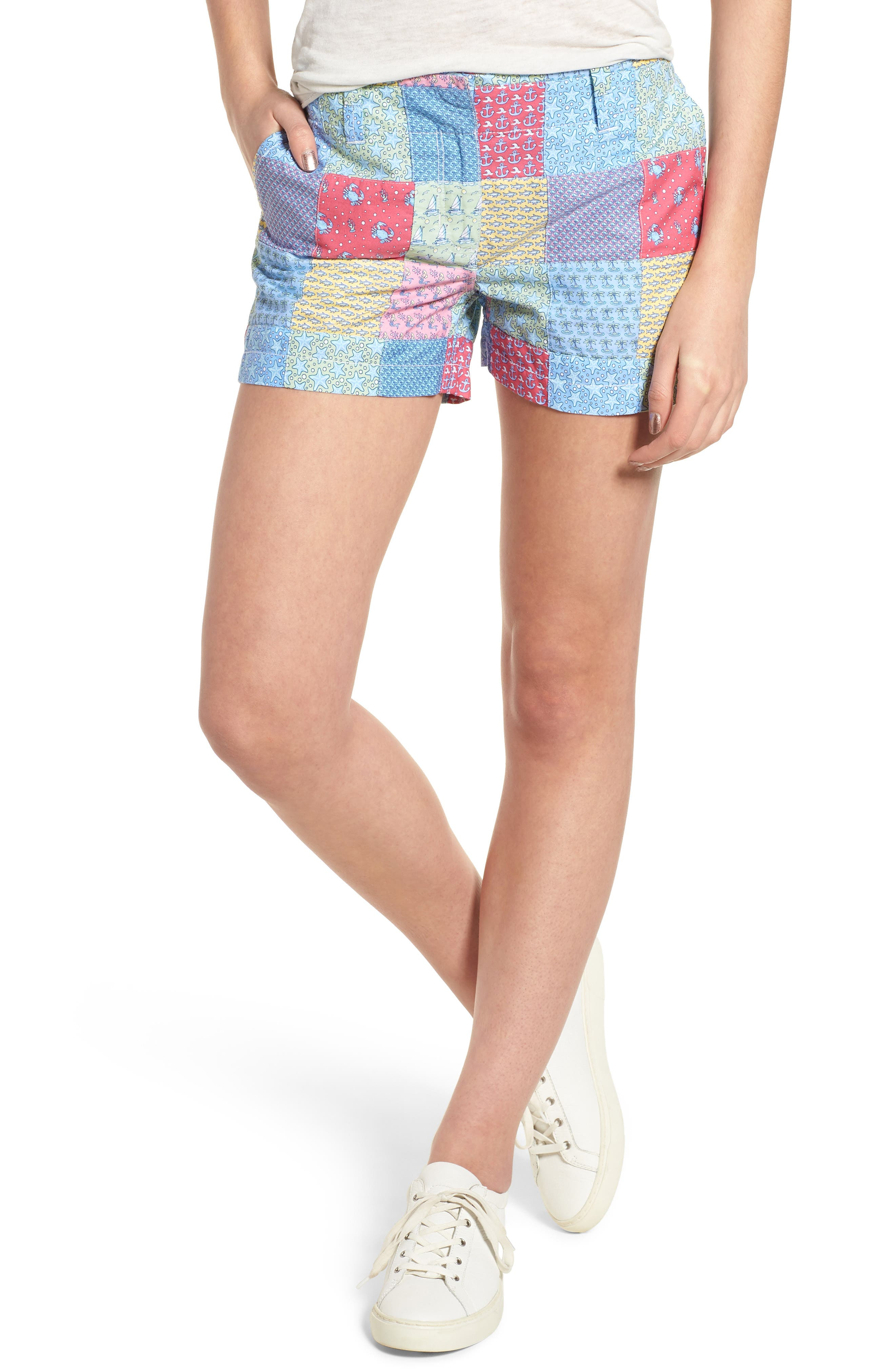 Patchwork Everyday Shorts,                         Main,                         color, Sailors Red