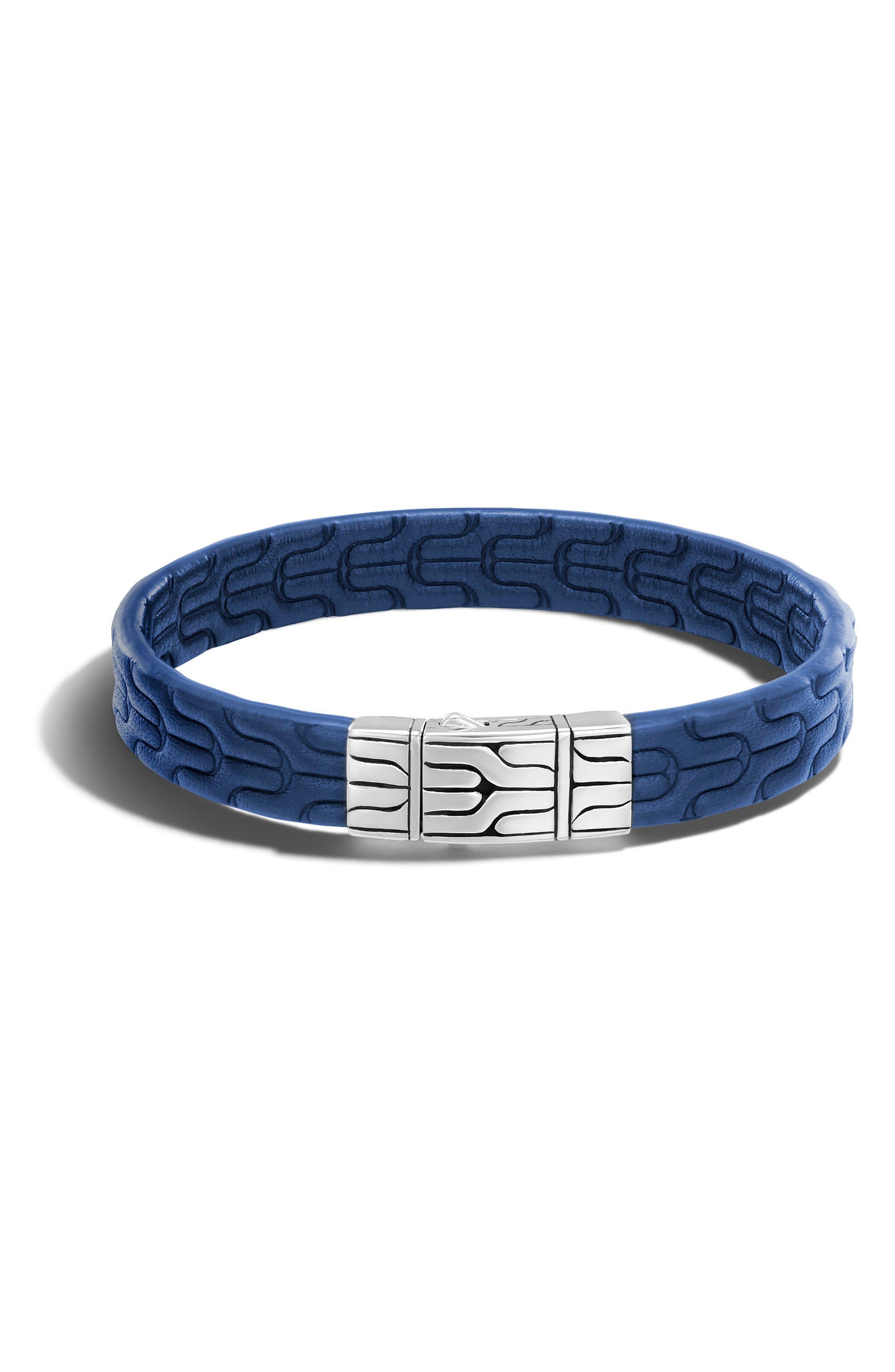 Embossed Leather Bracelet,                             Main thumbnail 1, color,                             Silver/ Blue