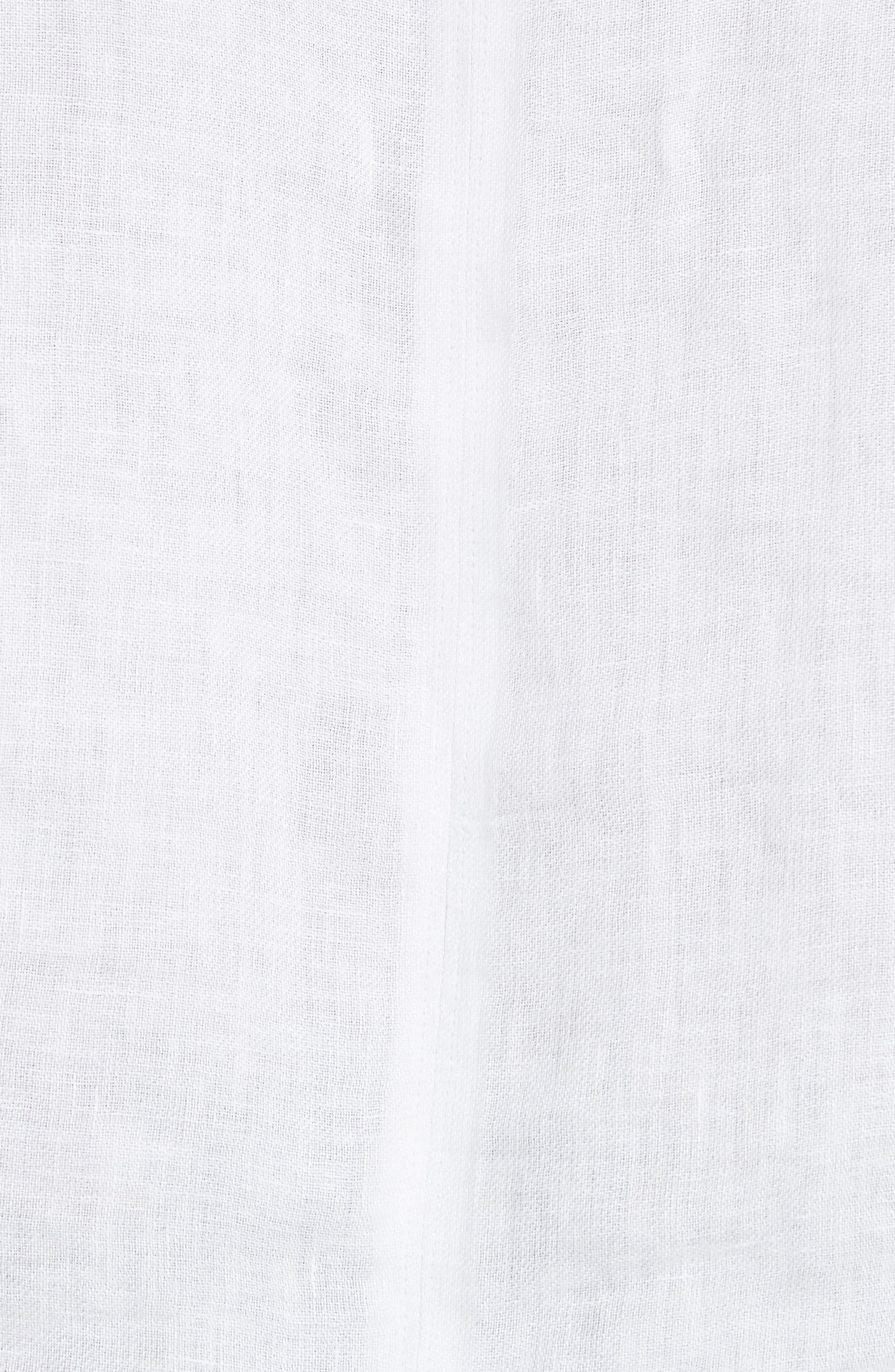 Febronia Ruffle Sleeve Linen Crop Top,                             Alternate thumbnail 5, color,                             Porcelain