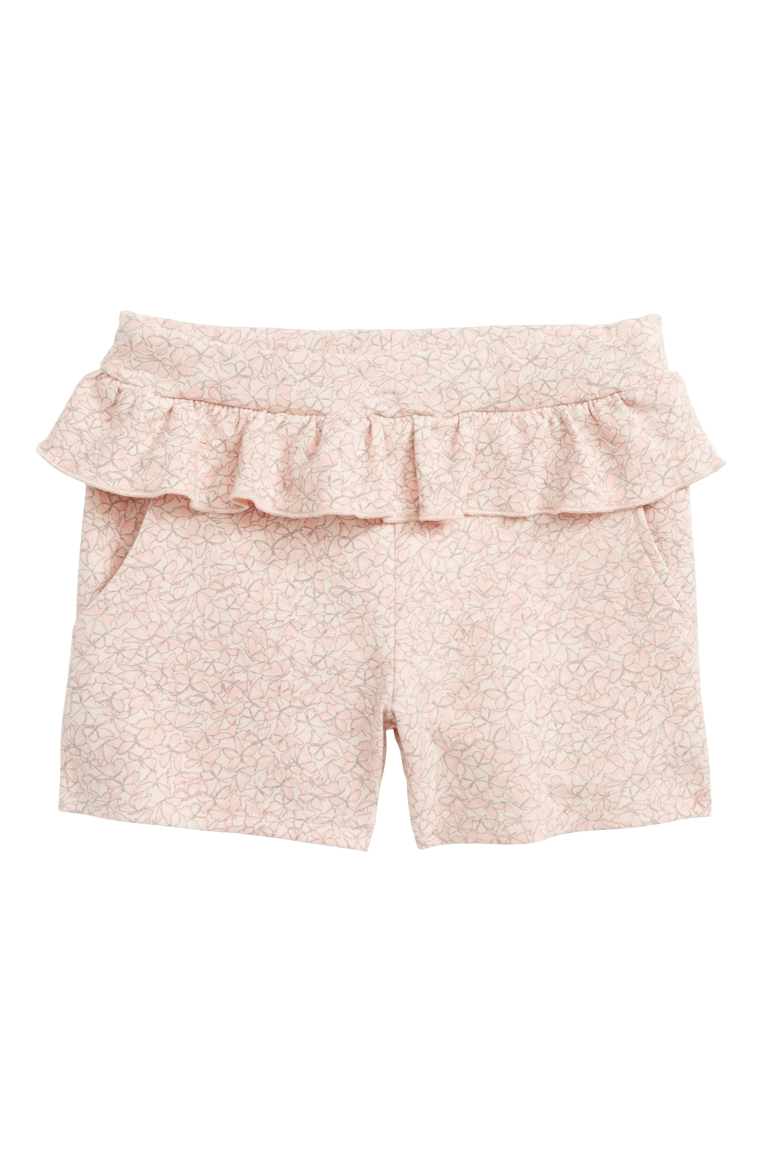 Main Image - Wheat Butterfly Ruffle Shorts (Toddler Girls, Little Girls & Big Girls)