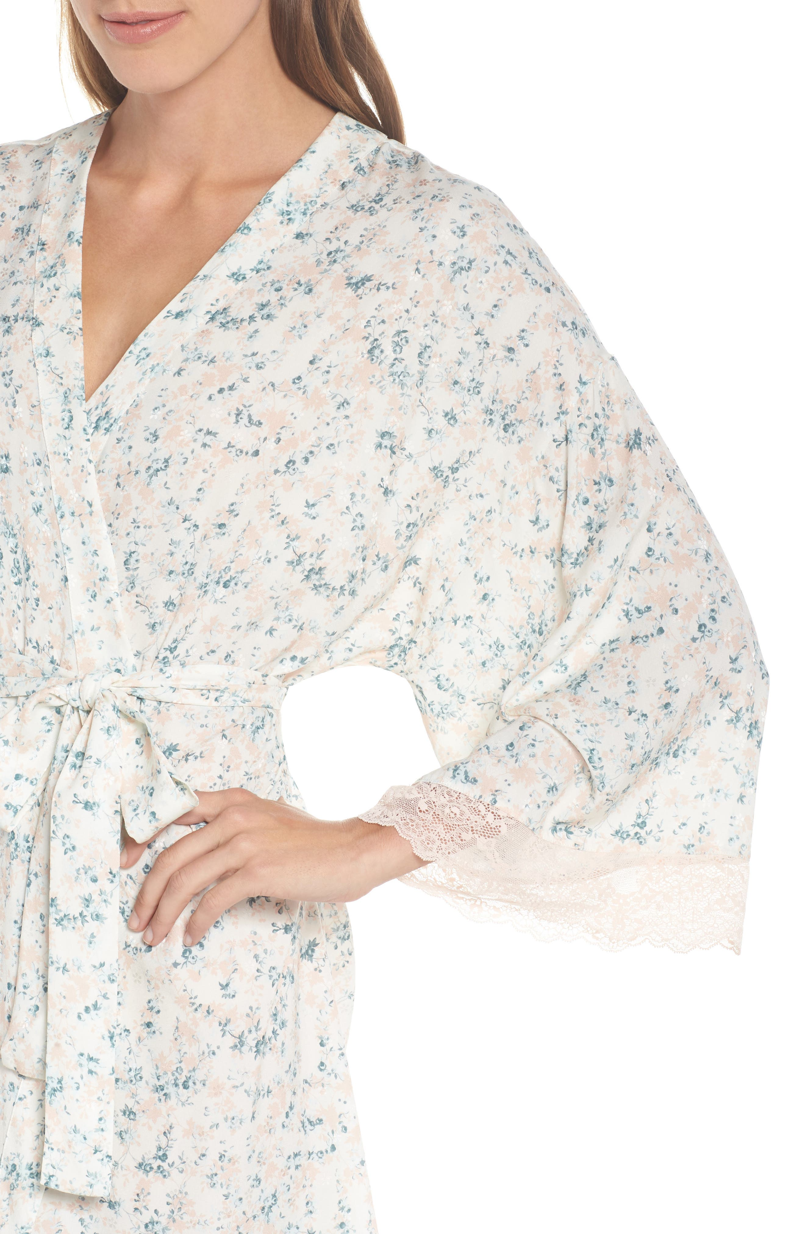 Lily Stretch Silk Short Robe,                             Alternate thumbnail 5, color,                             Ivory Floral Print