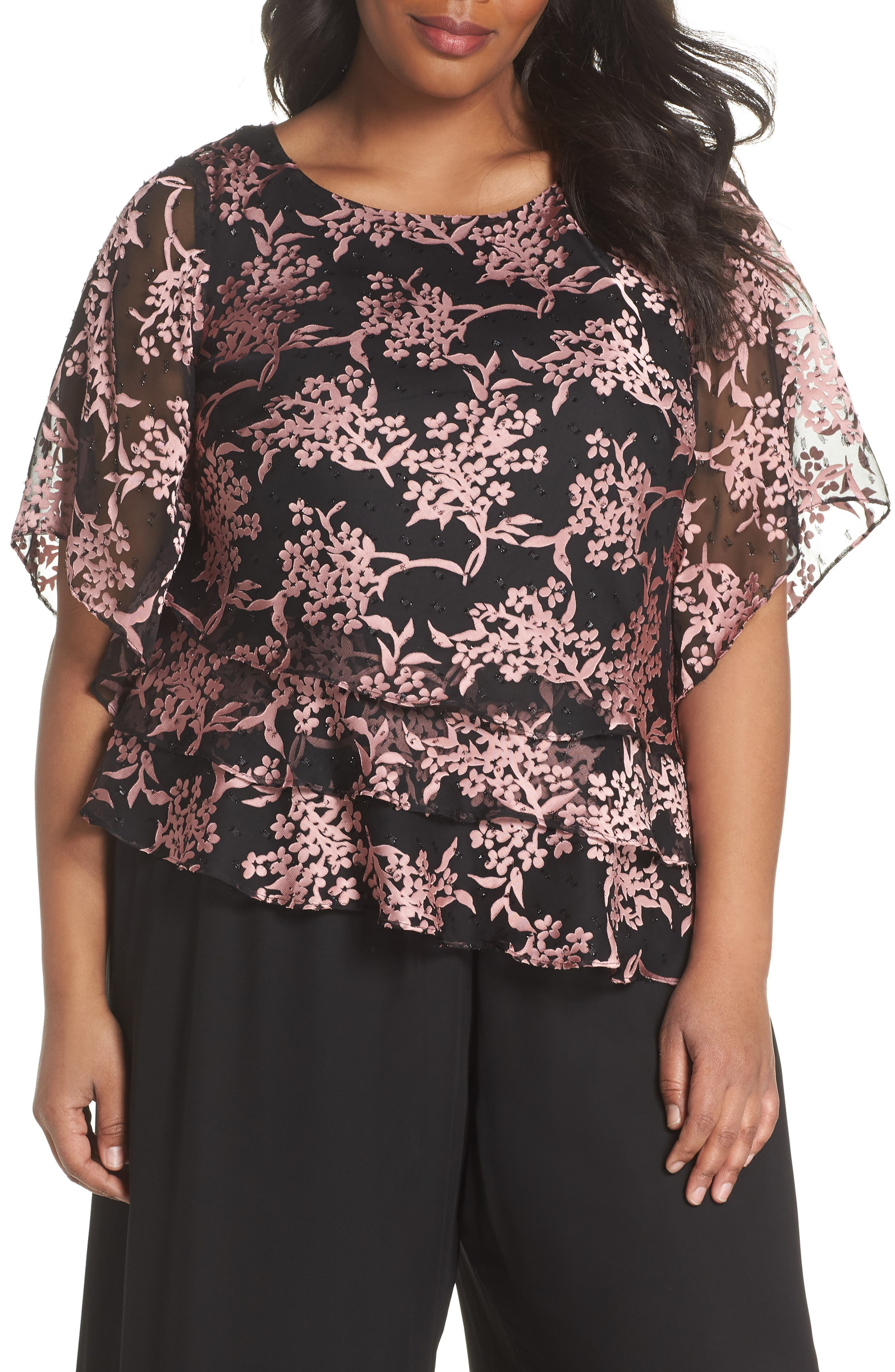 Embroidered Asymmetrical Top,                         Main,                         color, Black/ Coral