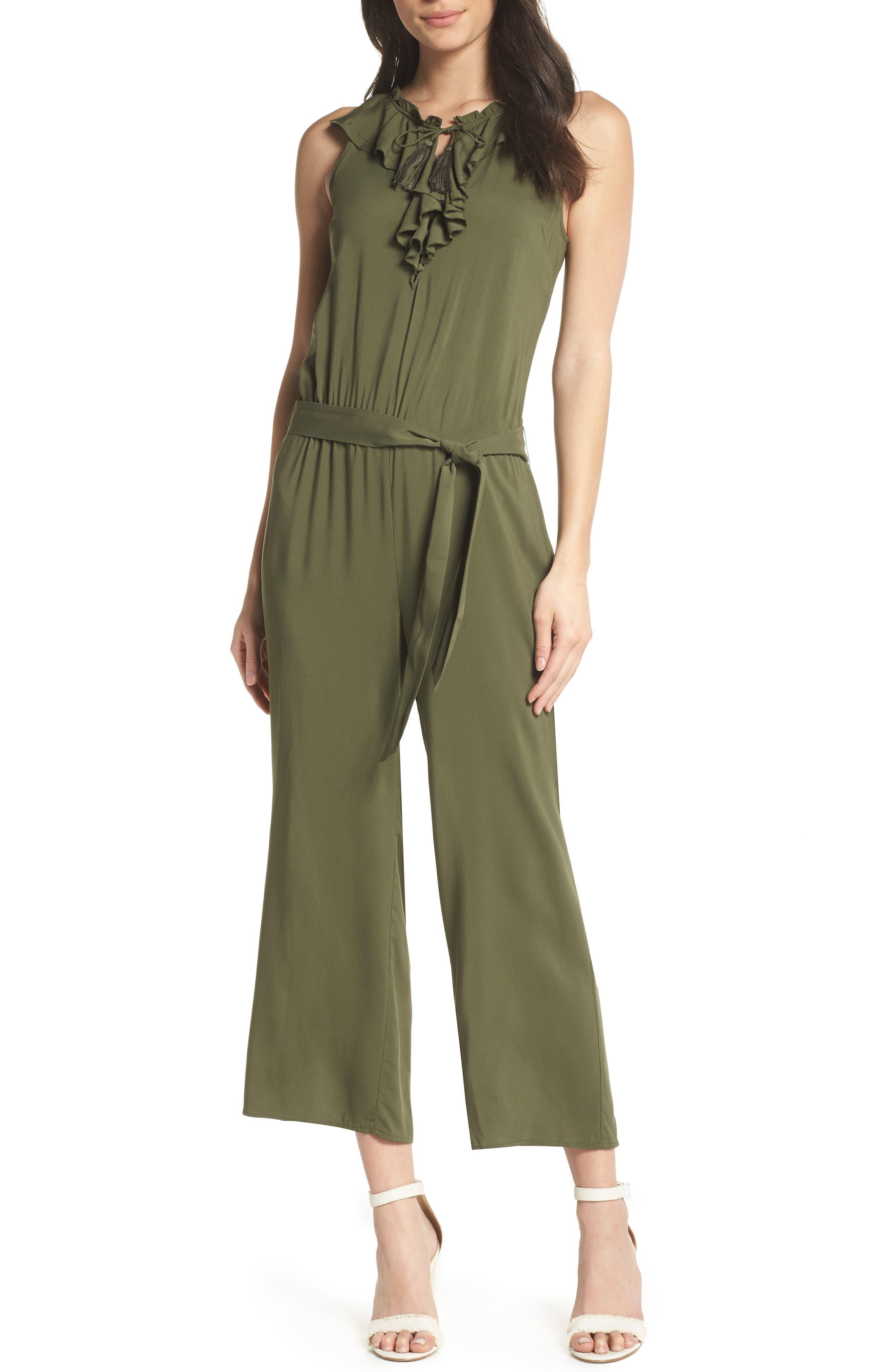 Paletta Tie-Waist Jumpsuit,                         Main,                         color, Desert Olive