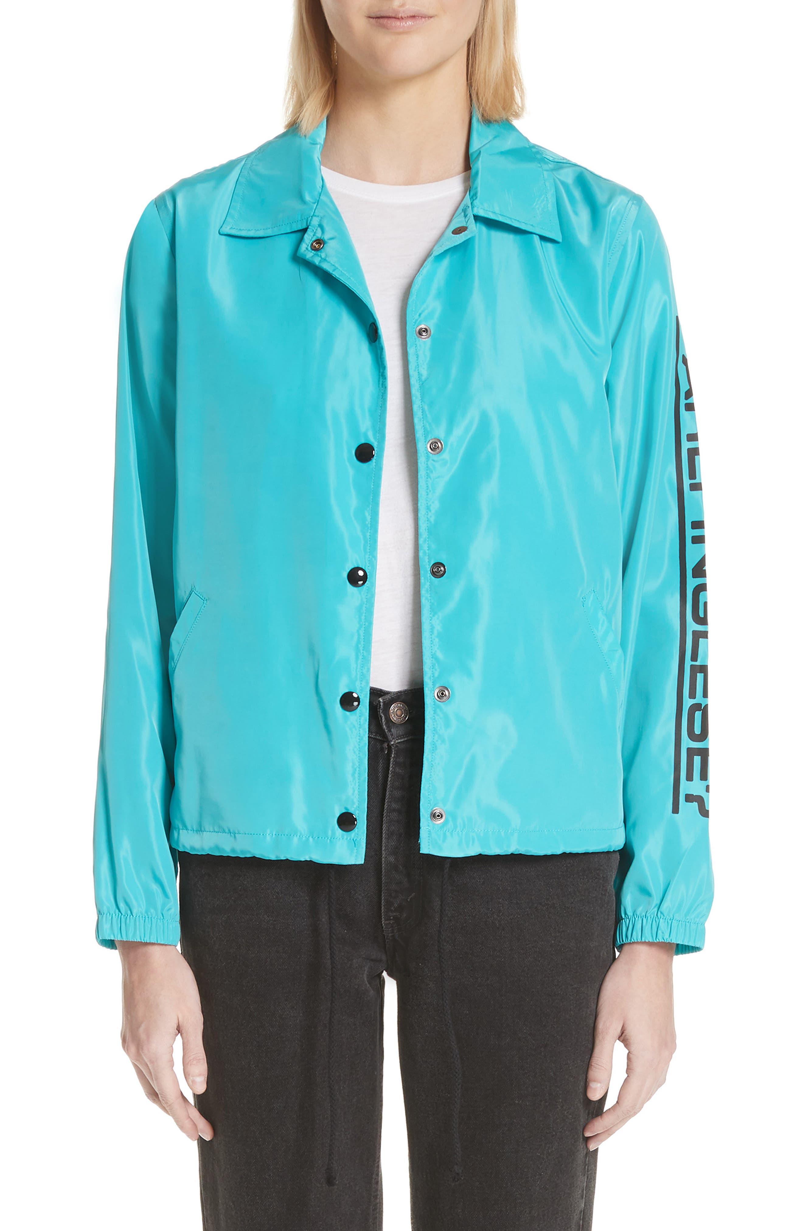 Parli Inglese Coach Jacket,                             Main thumbnail 1, color,                             Turquoise