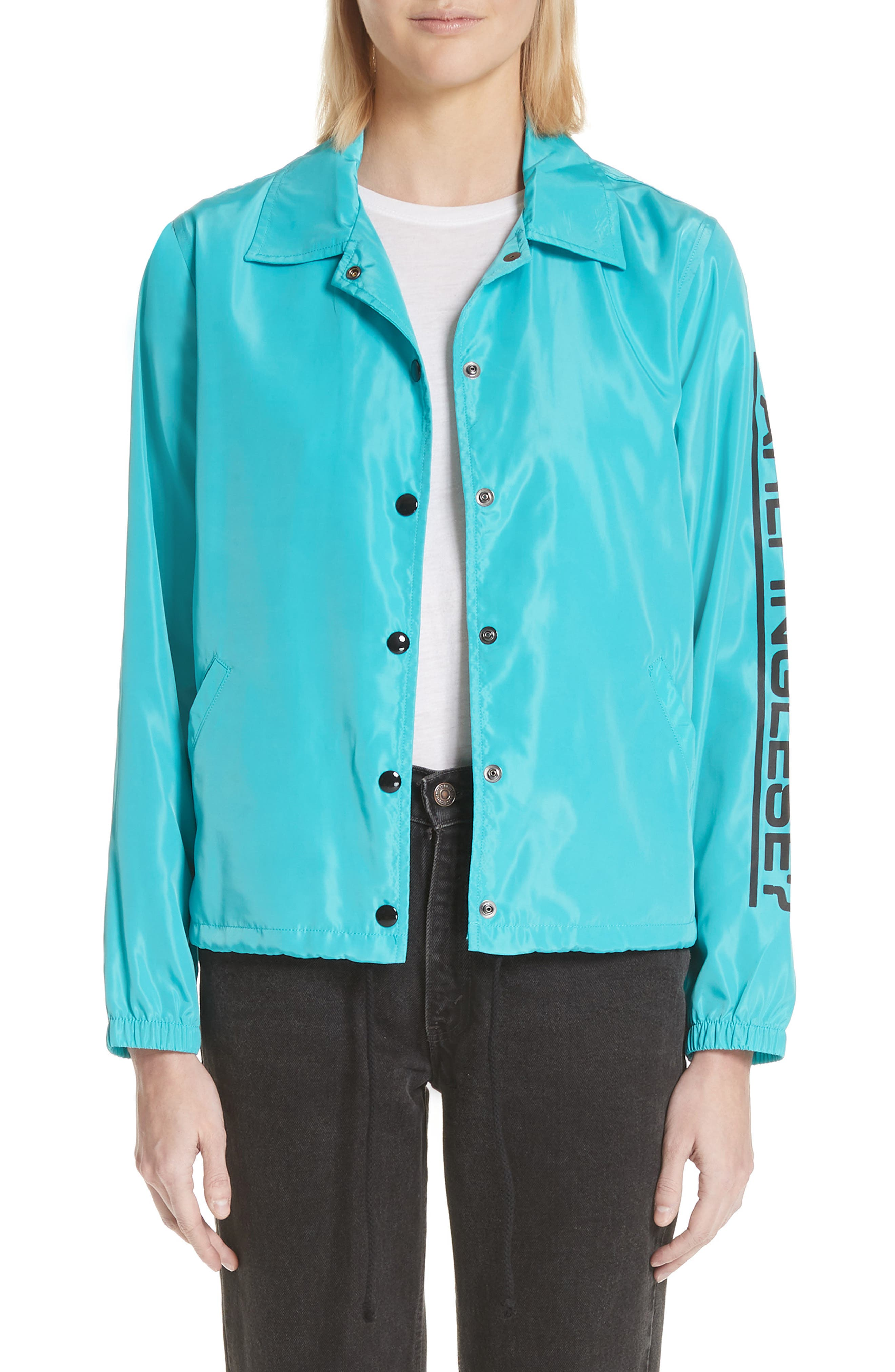 Parli Inglese Coach Jacket,                         Main,                         color, Turquoise